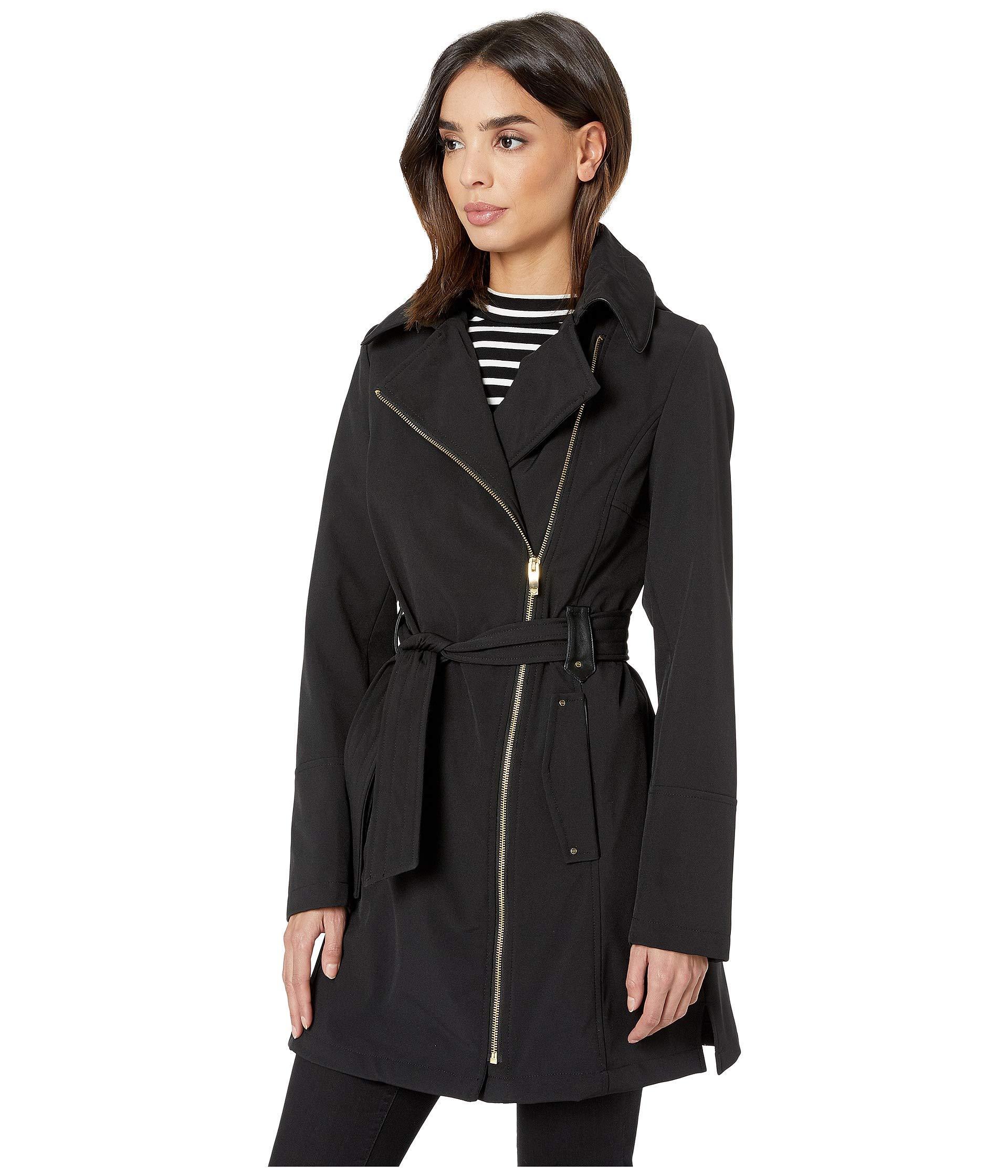 f140dbb7371 Lyst - Via Spiga Asymmetrical Hooded Belted Soft Shell W  Pu Trim (black)  Women s Coat in Black