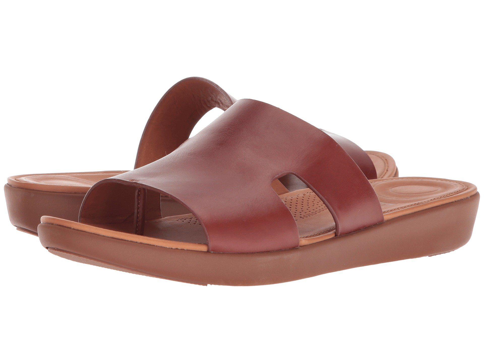 Fitflop Leather H-bar Slide Sandals for