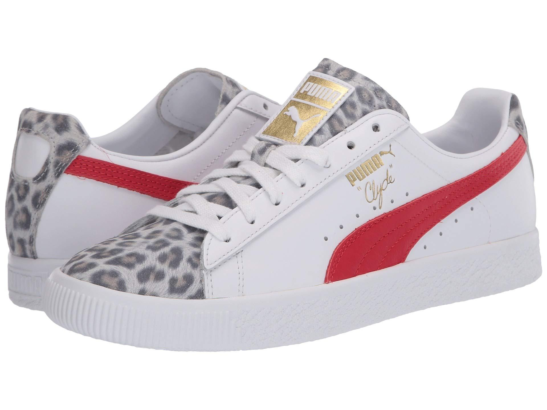 PUMA Leather Clyde Leopard in Pink - Lyst