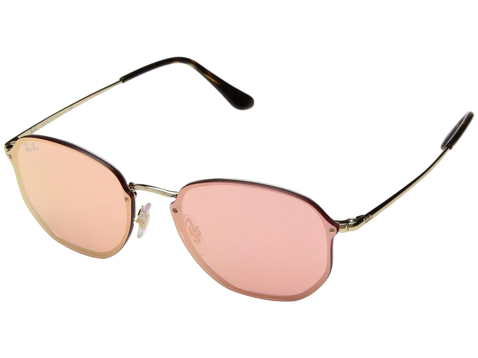 507bab9e67 Ray-Ban. Women s Blaze Hexagonal Rb3579n 58mm (gold pink Mirror) Fashion  Sunglasses
