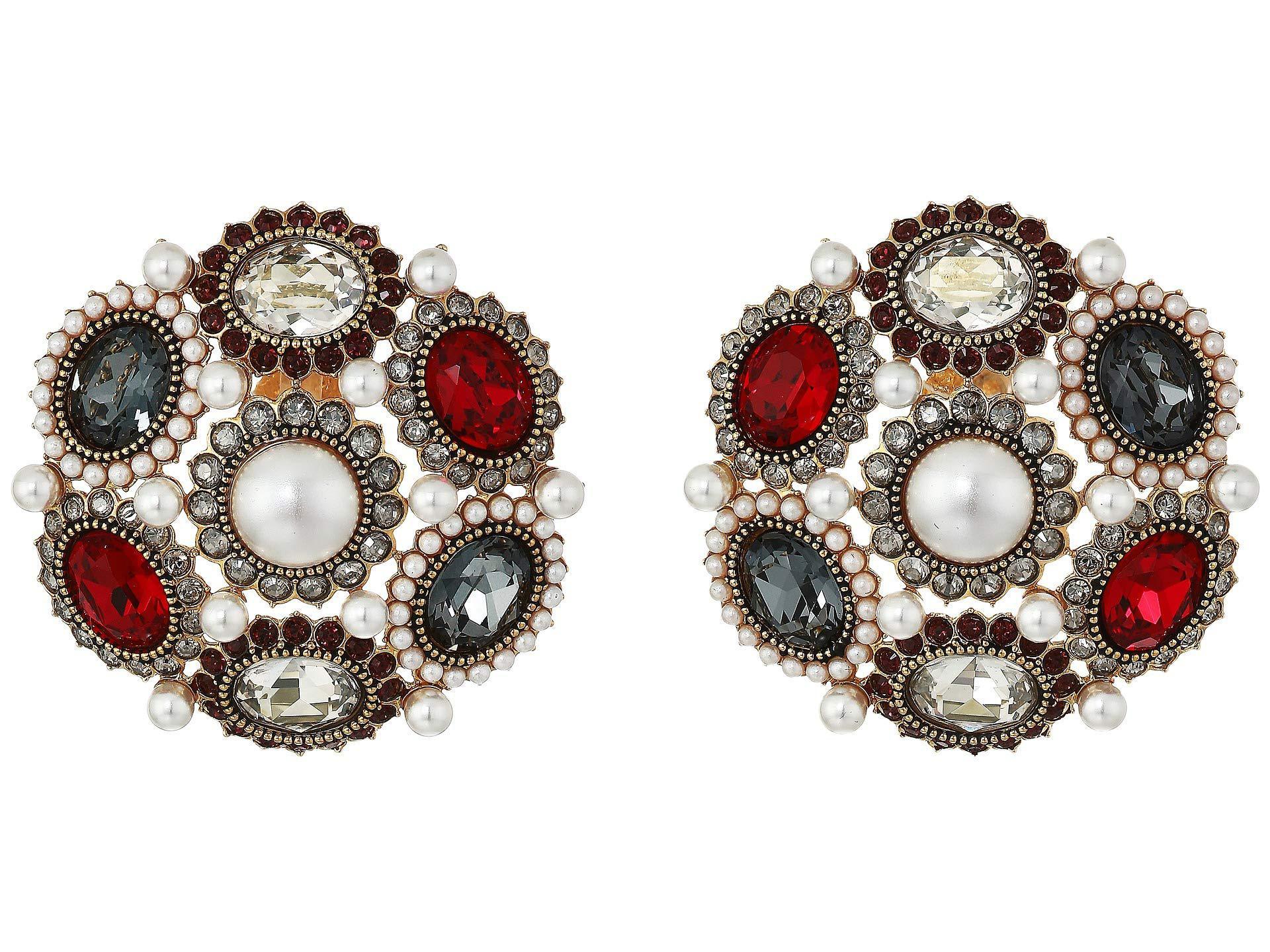 Millennium Clip Earrings Dark Multi Gold Plating Earring