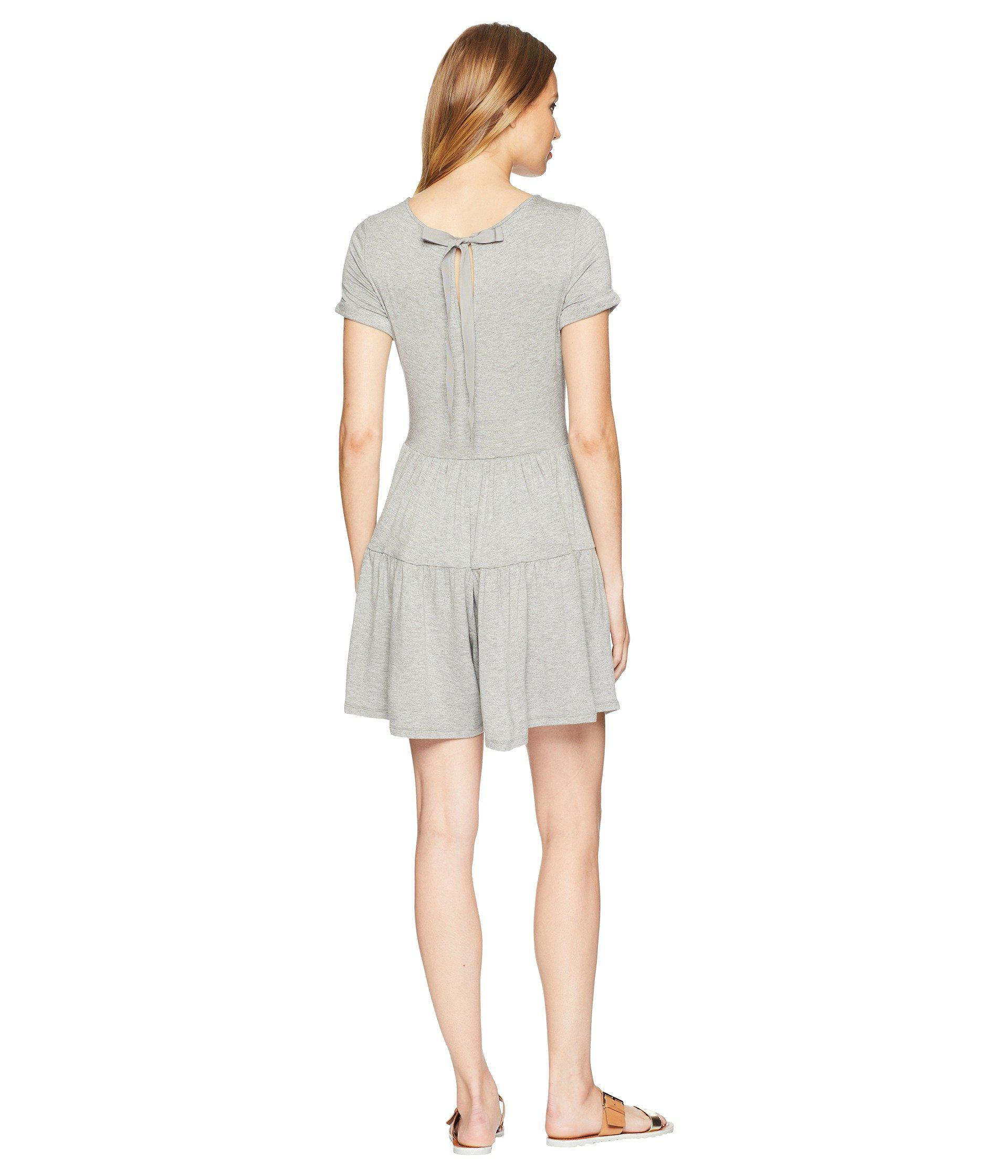 38a0059ad8f2 Lyst - Kensie Lightweight French Terry Romper With Ribbon Tie Back ...