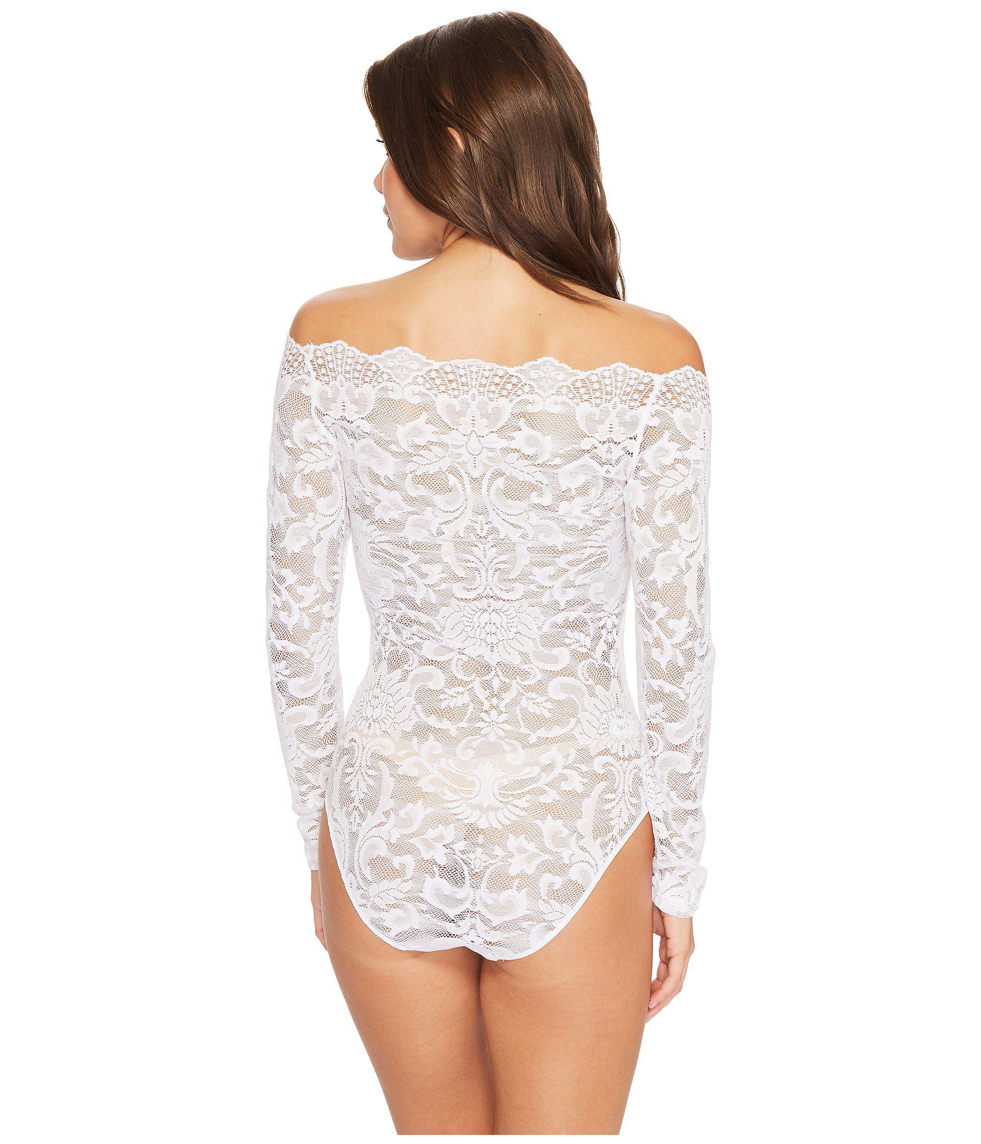 Lyst - Felina Eliza Off Shoulder All Lace Bodysuit (white) Women s ... cb70b772f