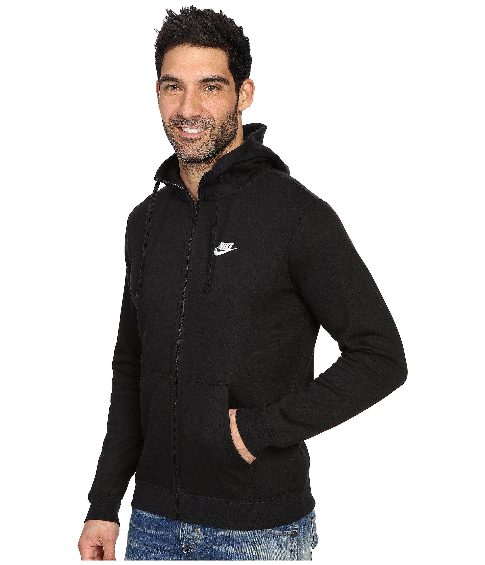 93248b911 Nike Club Fleece Full-zip Hoodie (black/black/white) Men's Fleece in ...