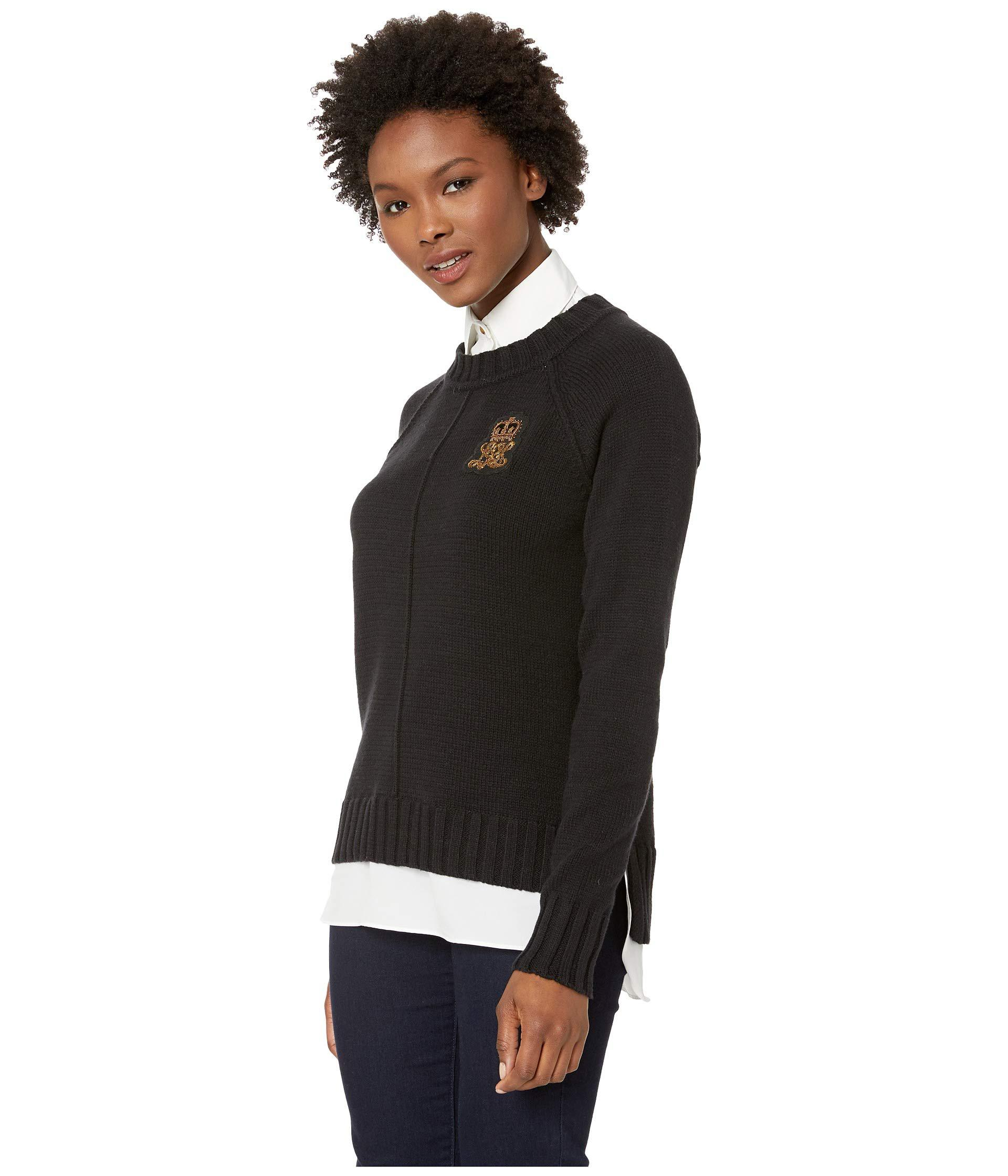 Lyst - Lauren by Ralph Lauren Bullion-patch Layered Shirt (polo Black)  Women s Clothing in Black - Save 67% e4917e917