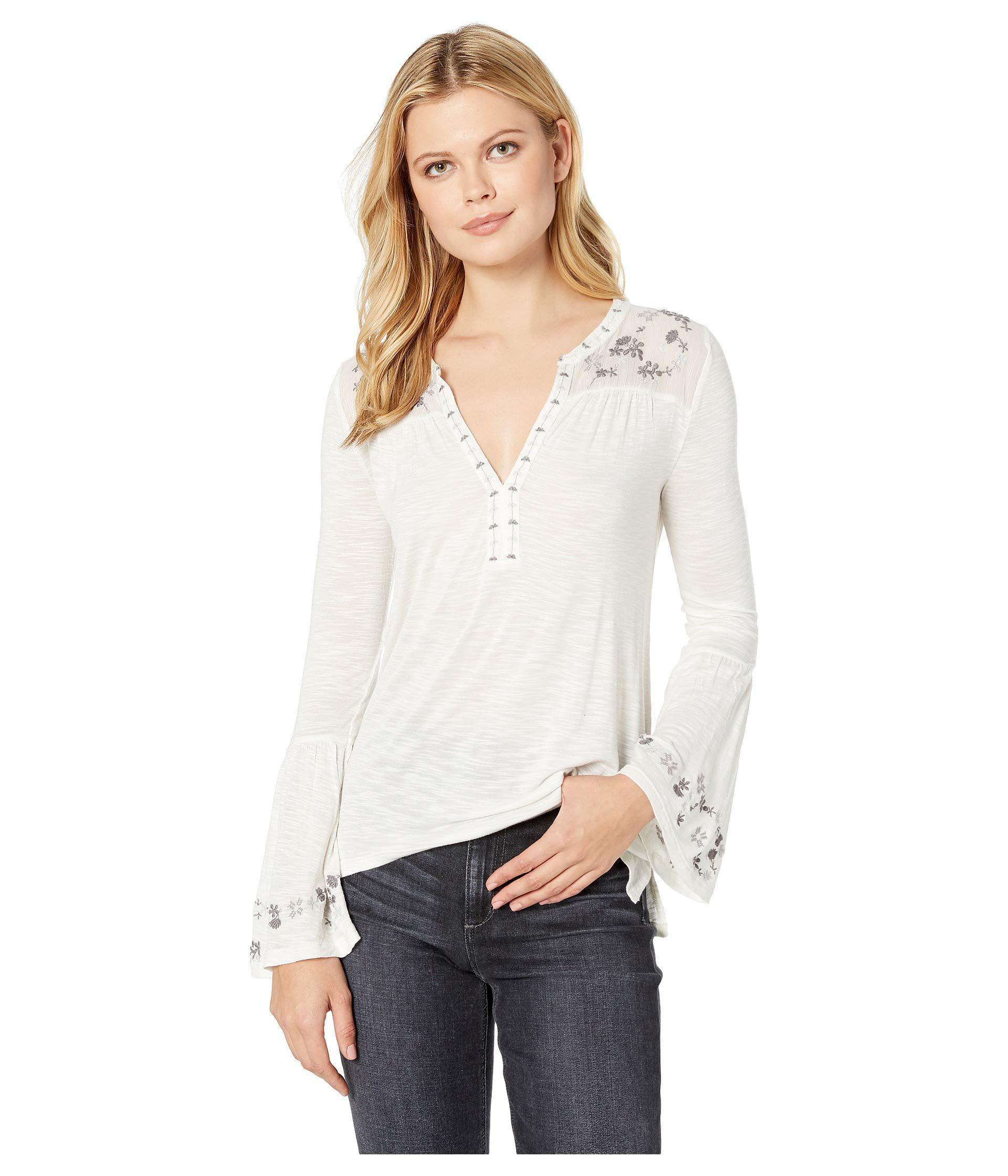 1ec36574e72fe8 Lyst - Lucky Brand Embroidered Yoke Top (cream Multi) Women s Long ...