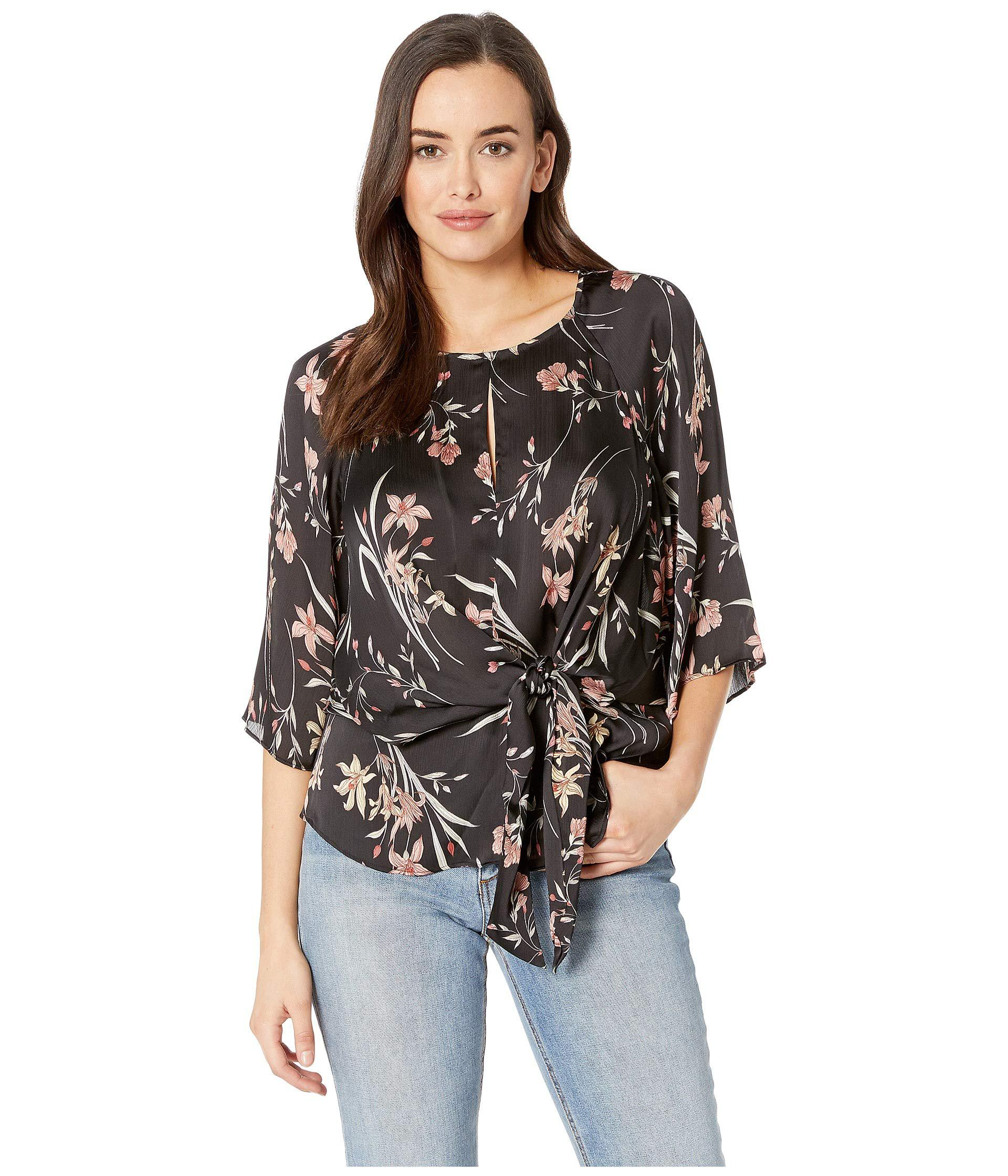 Lyst Vince Camuto Bell Sleeve Tie Front Floral Soiree Keyhole