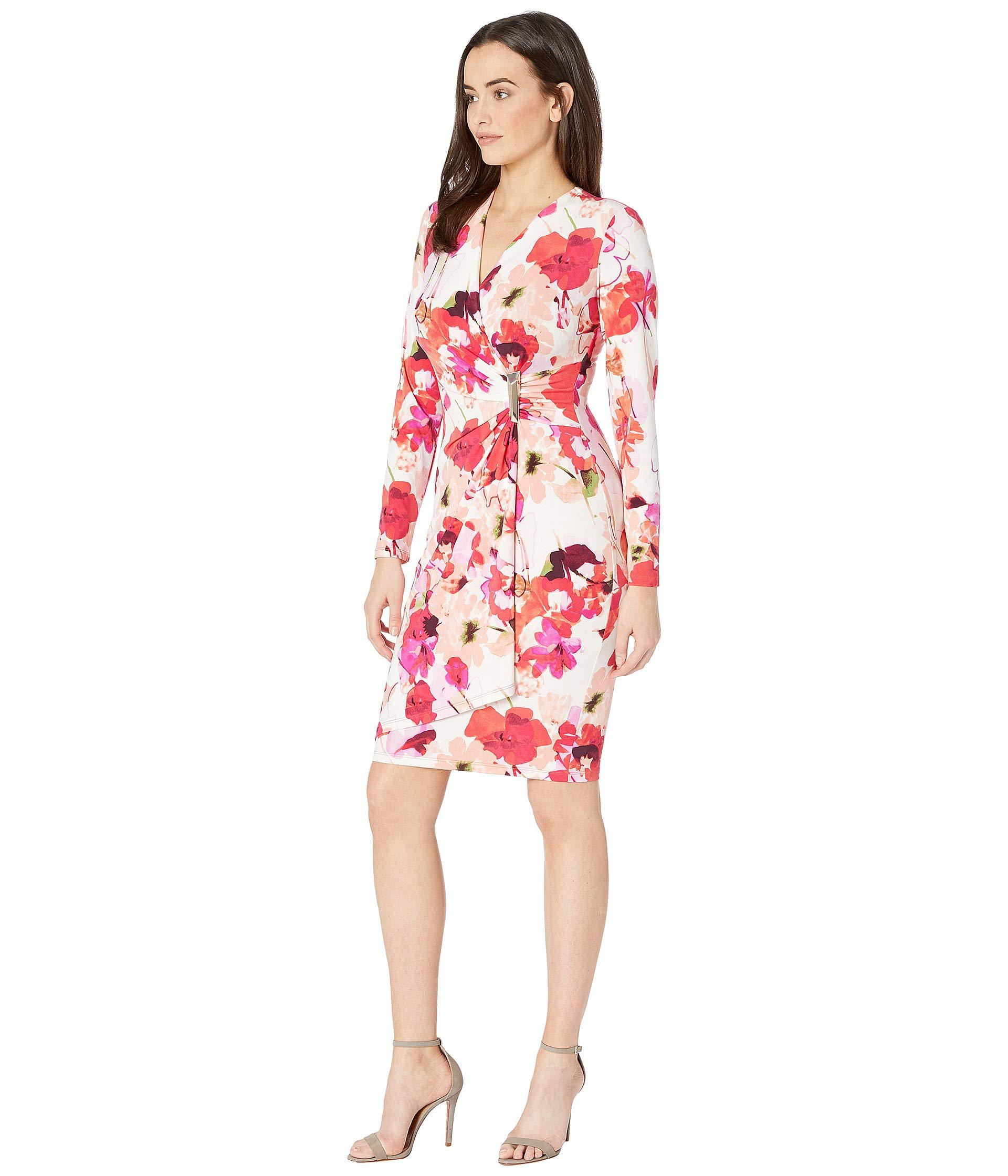 88271b076cc Calvin Klein Floral Print Faux Wrap Dress With Hardware Side Tab Cd8ab32r  (ember Multi) Women s Dress in Red - Lyst