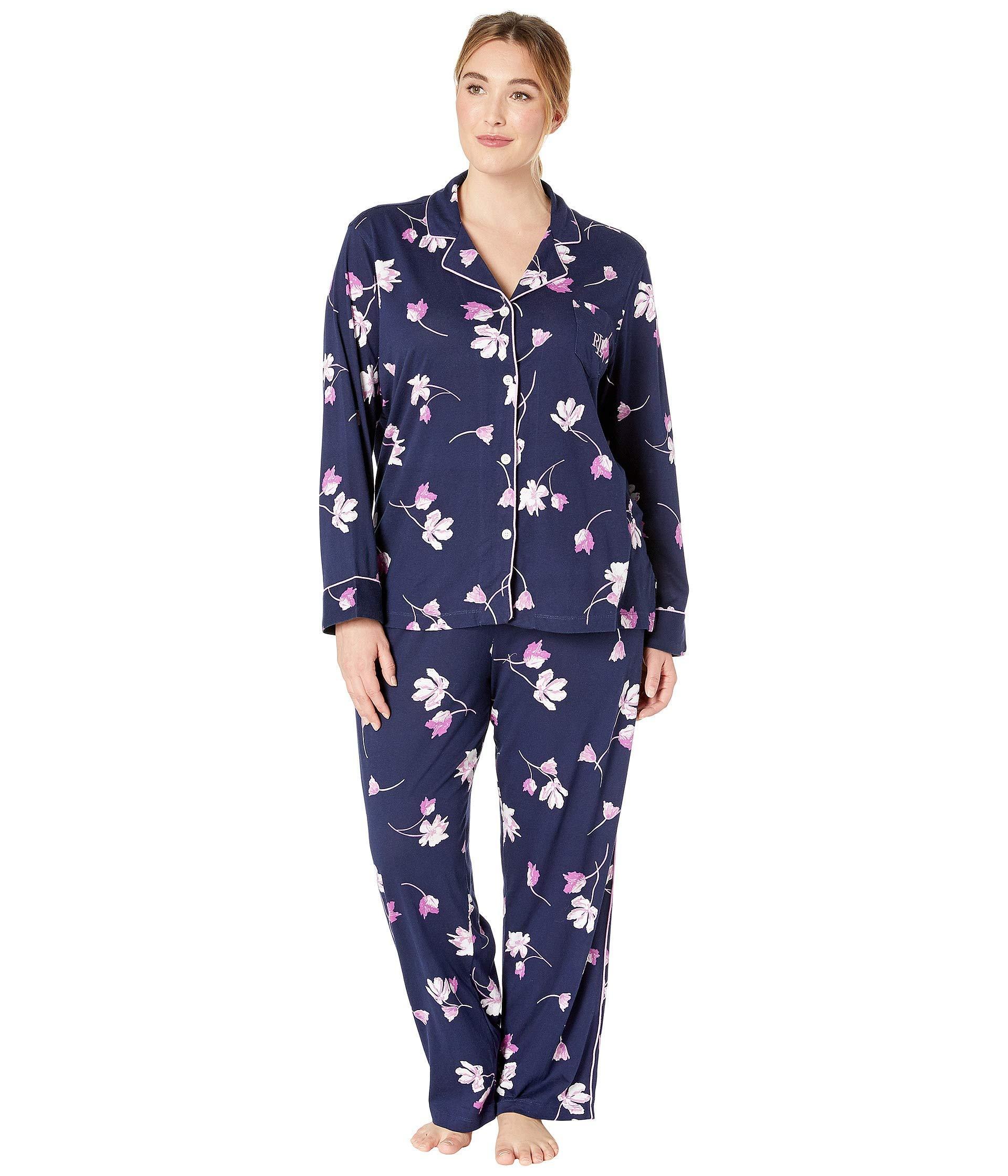 602468f8 Lauren by Ralph Lauren Blue Plus Size Knit Notch Collar Pajama Set (navy  Floral) Pajama Sets