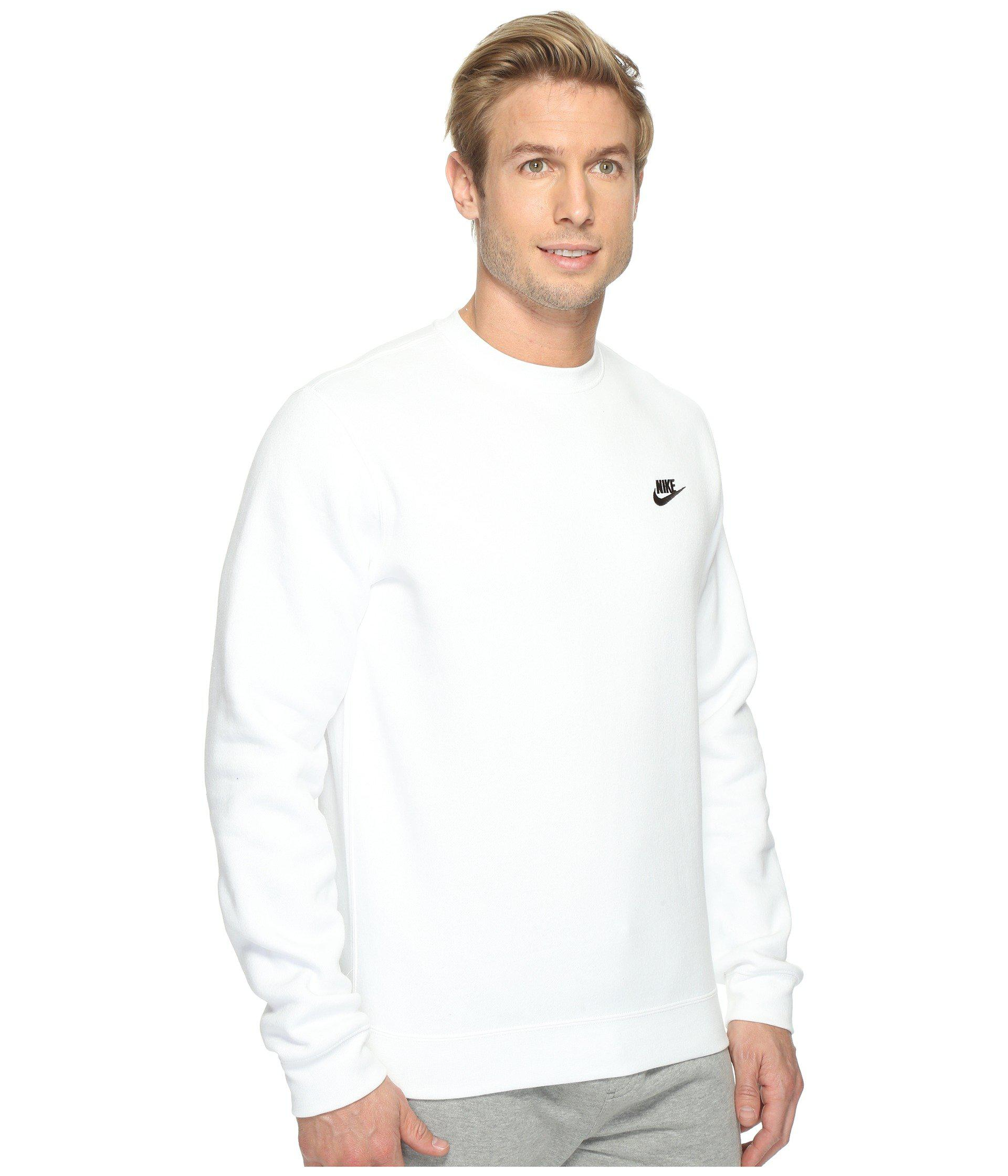 5dc49a2e33eb Lyst - Nike Club Fleece Pullover Crew (dark Grey Heather white ...