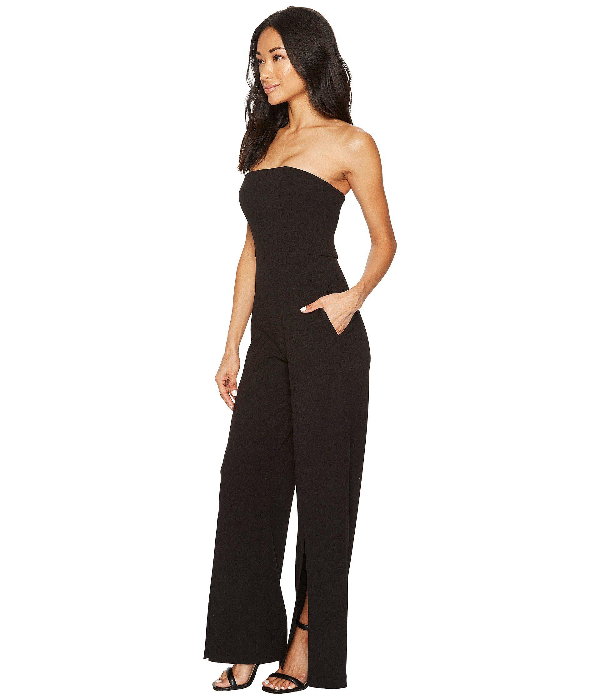 Donna Morgan Womens Strapless Crepe Jumpsuit