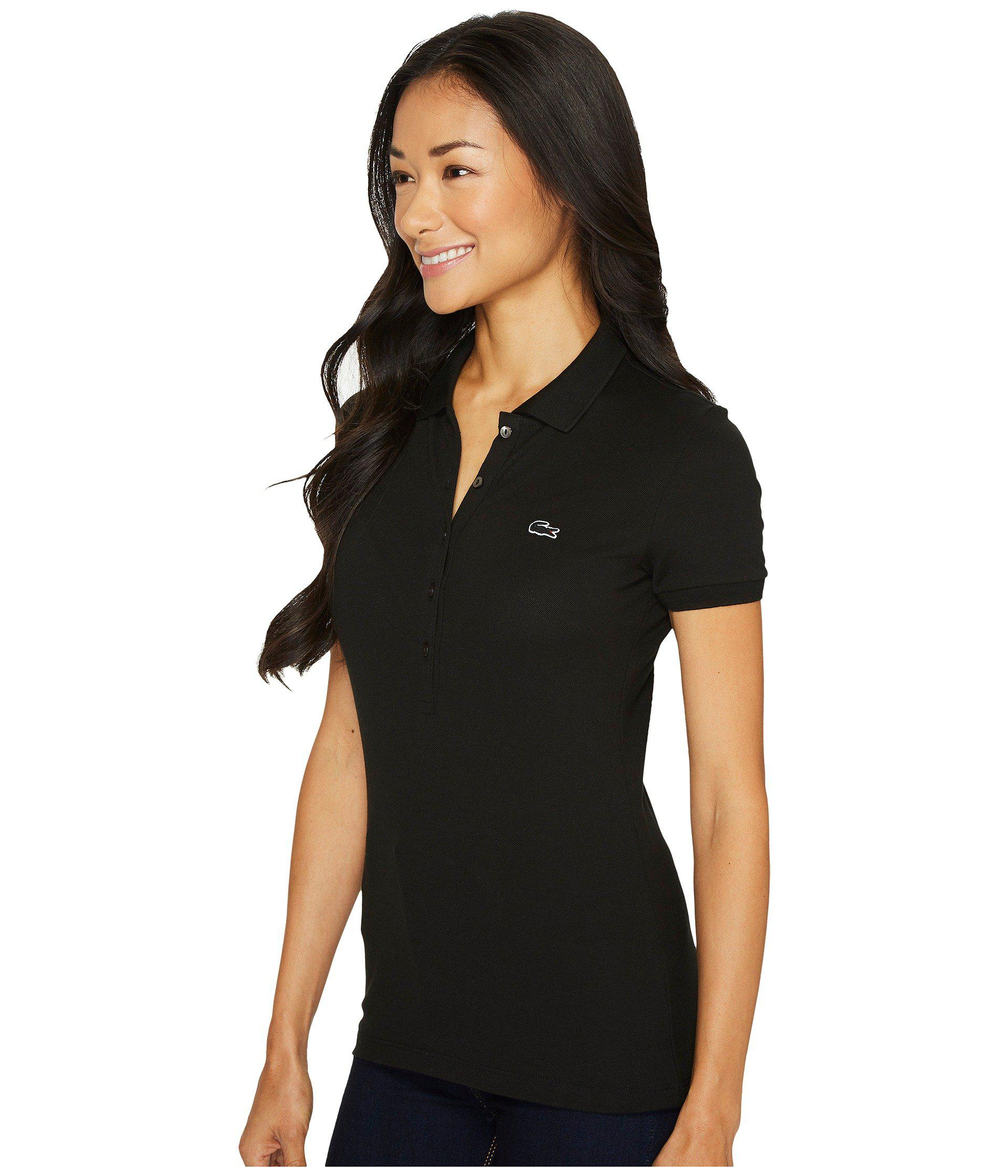 6ff790746a46 Lyst - Lacoste Short Sleeve Slim Fit Stretch Pique Polo Shirt (white)  Women s Clothing in Black