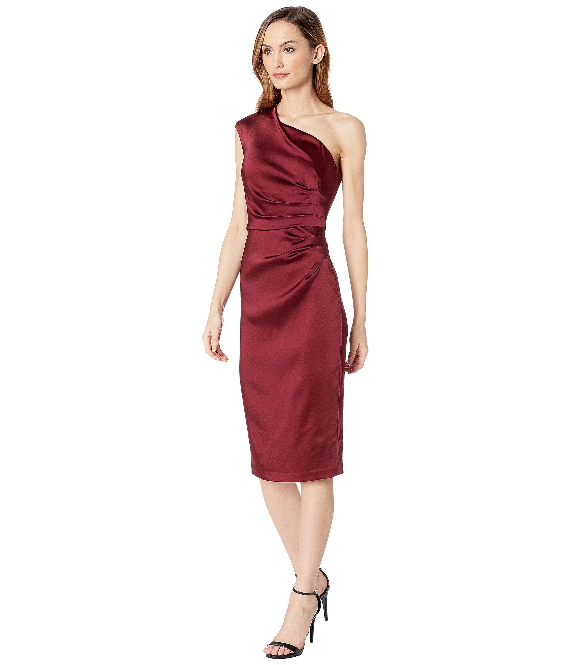 b569e880d6899 Lyst - Adrianna Papell Stretch Satin Short Dress (garnet) Women s Dress in  Red