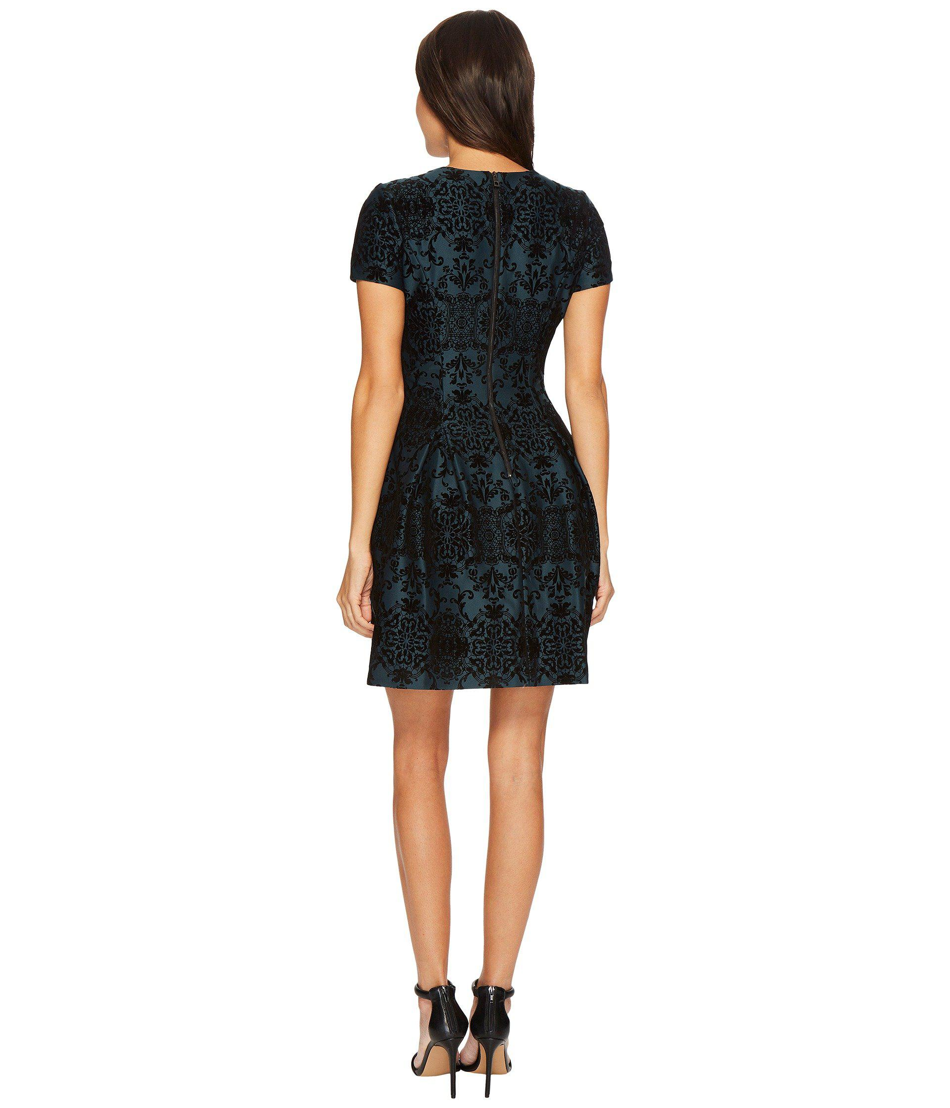 Vince Camuto Synthetic Flocked Novelty Fit And Flare Dress