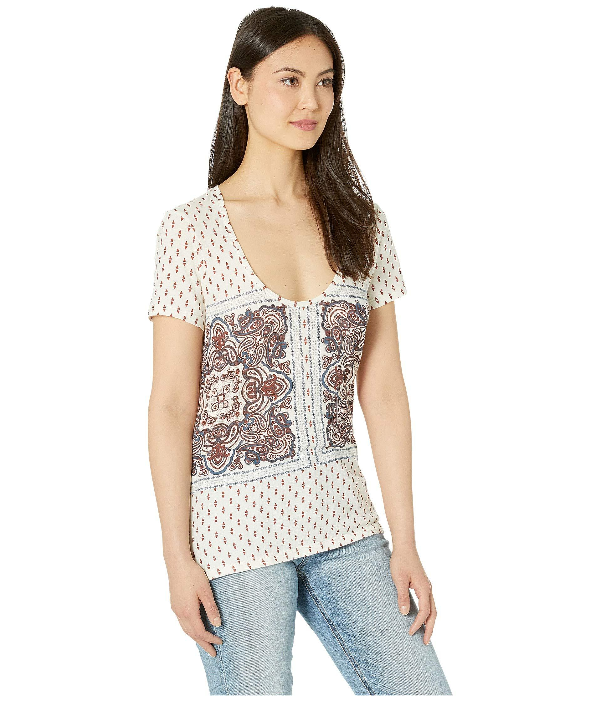 a7851aad926da Lyst - Lucky Brand Paisley Border Print Tee (natural Multi) Women s ...