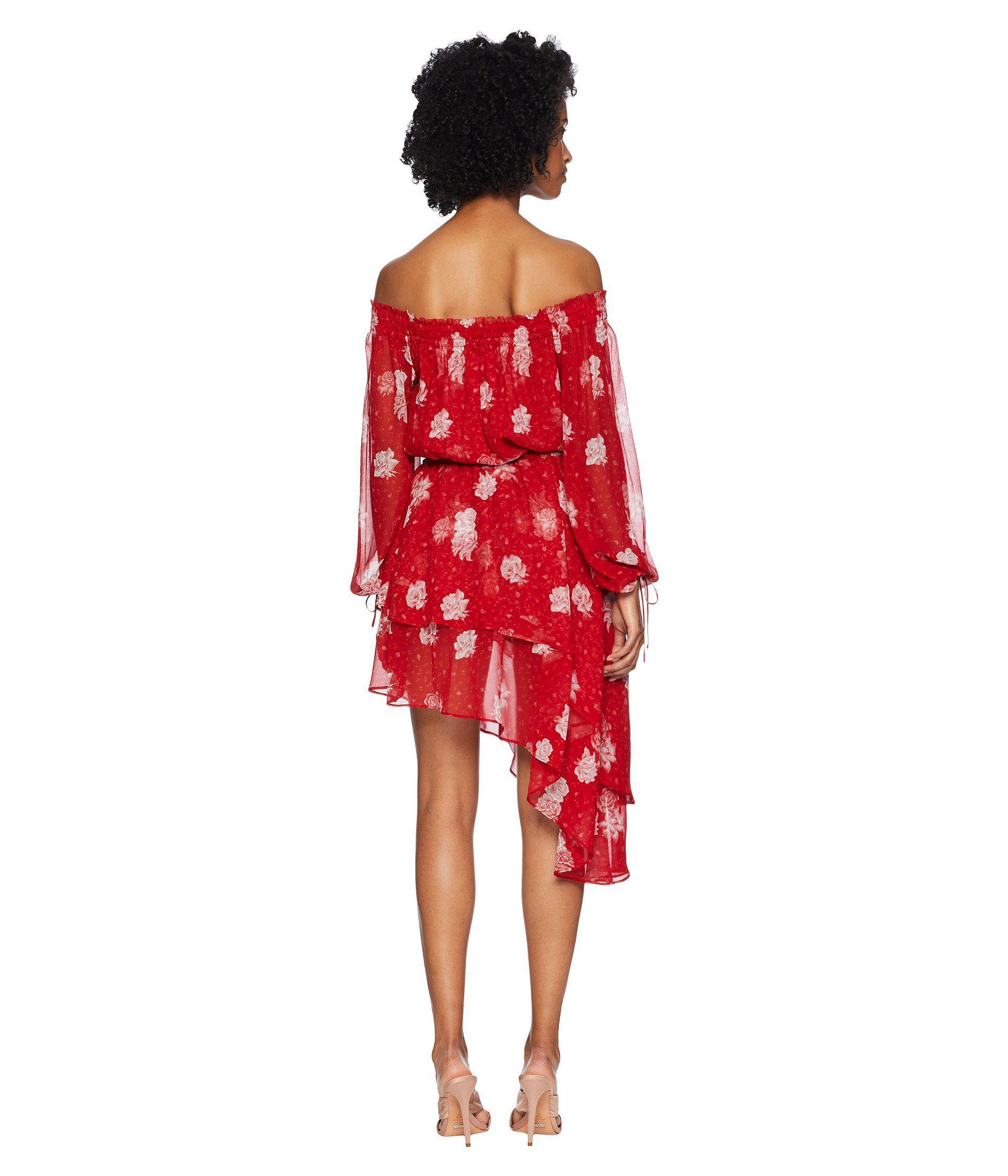 9ab26caf4b82 The Kooples Open Shoulder Dress In Rosie Blues Print Silk Muslin ...