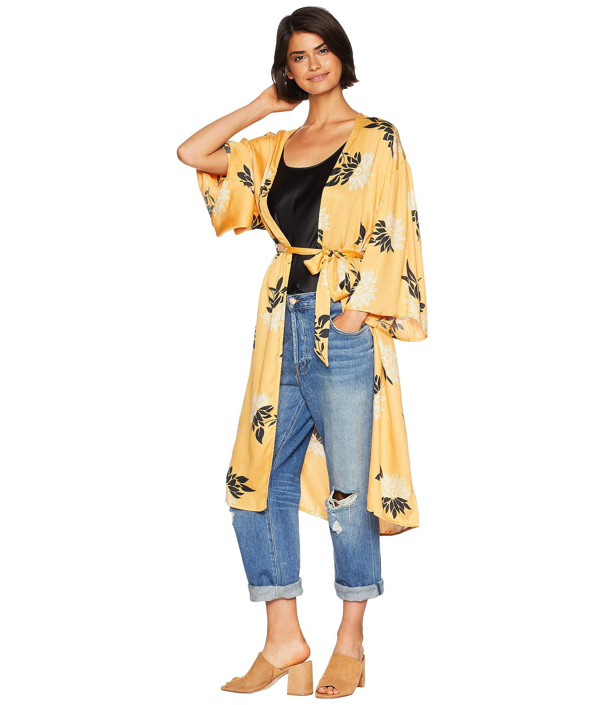 Lyst Amuse Society Lets Unwind Kimono Gold Womens Clothing In