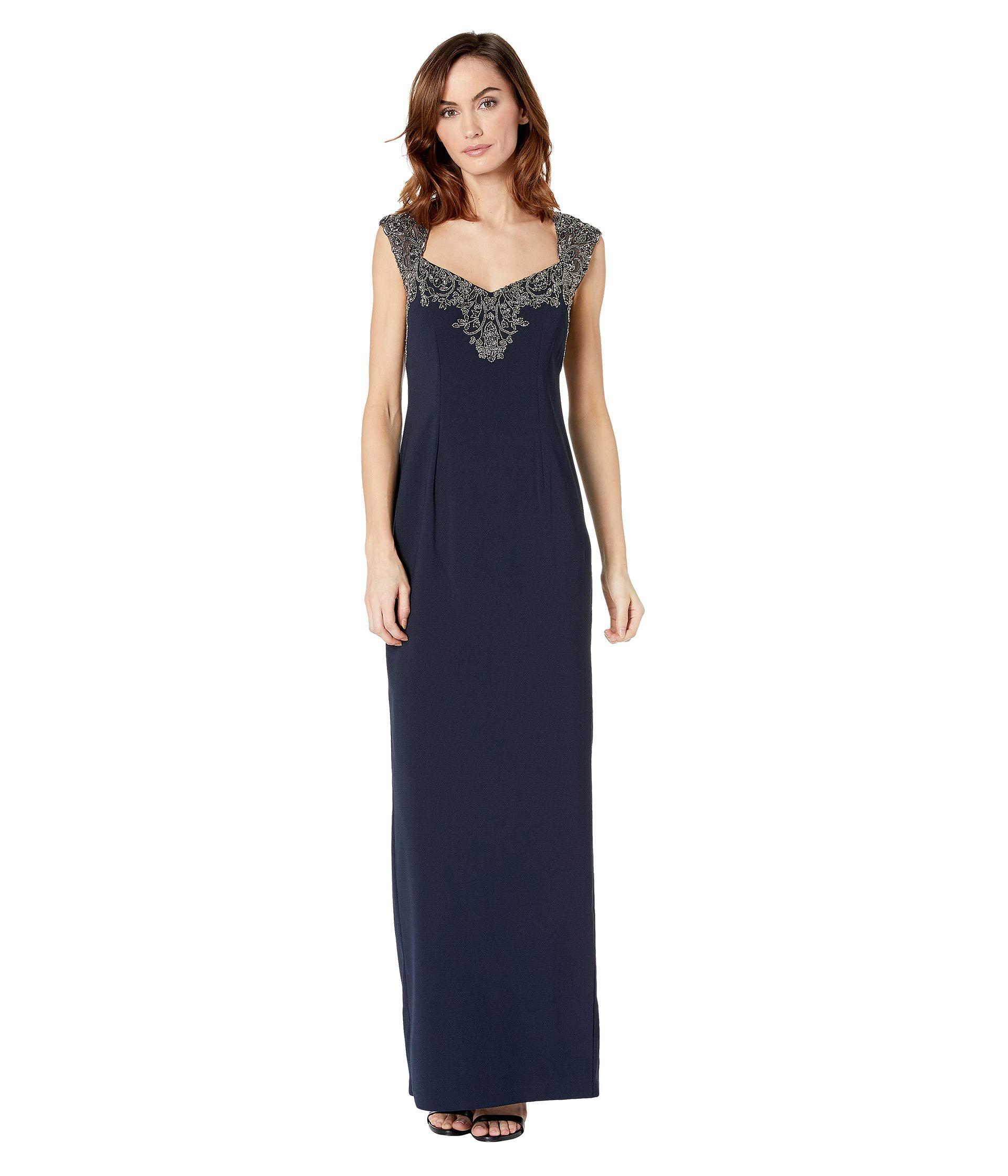 985e2430 Lyst - Adrianna Papell Beaded Top Evening Gown (midnight) Women's ...