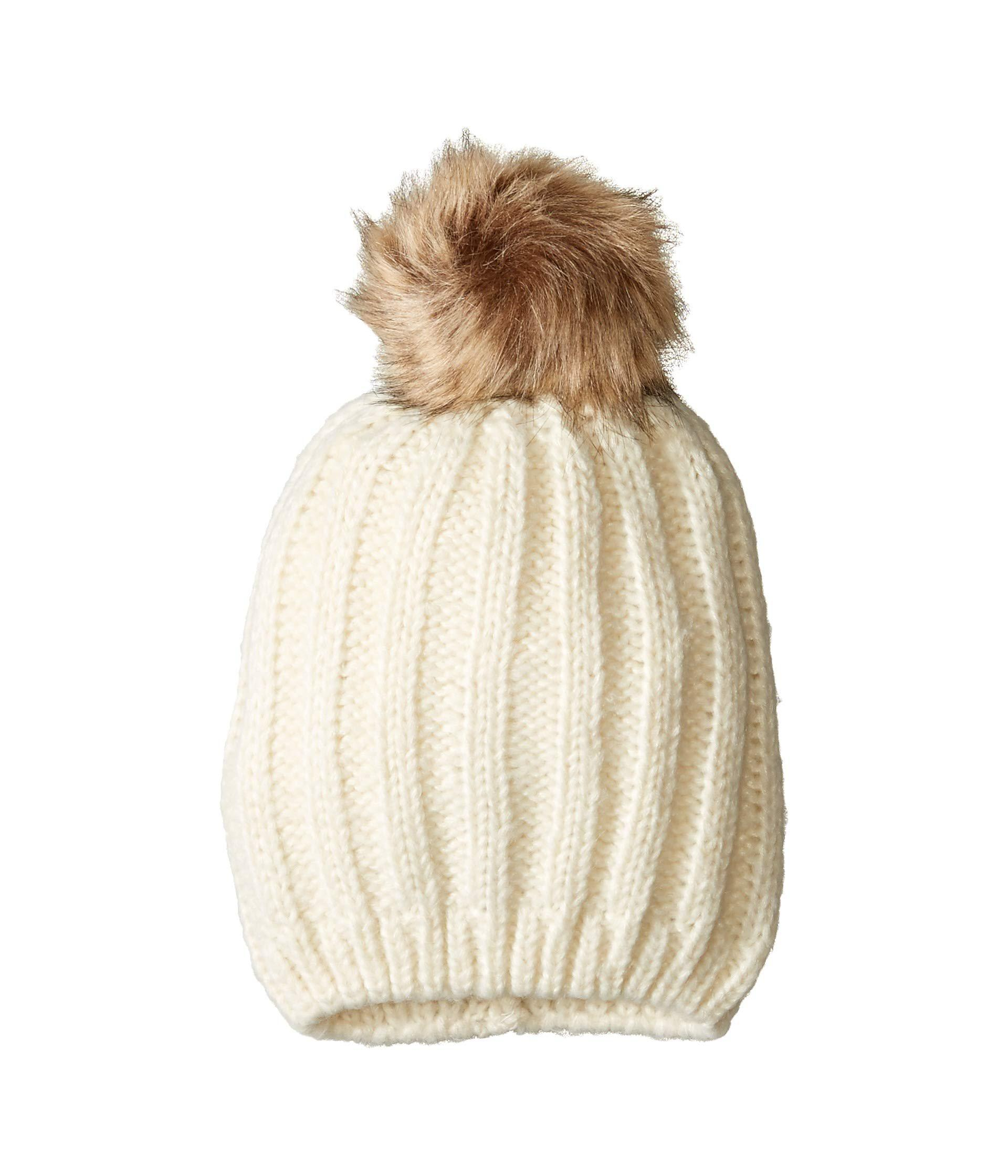 5a24a590dc713 Lyst - Hat Attack Soft Rib Slouchy With Faux Pom (black natural Grey ...