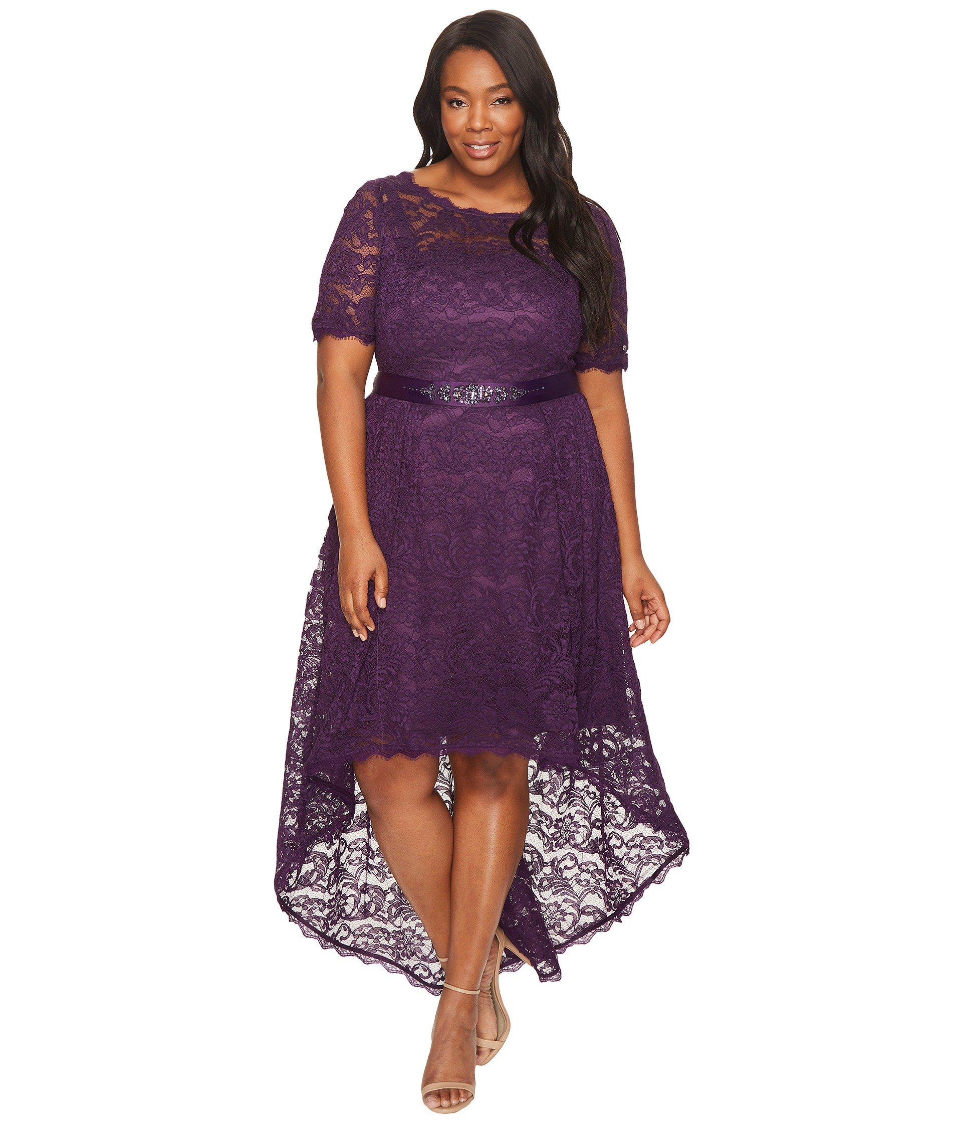 Women\'s Purple Plus Size Short Sleeve Lace Dress With High-low Hem