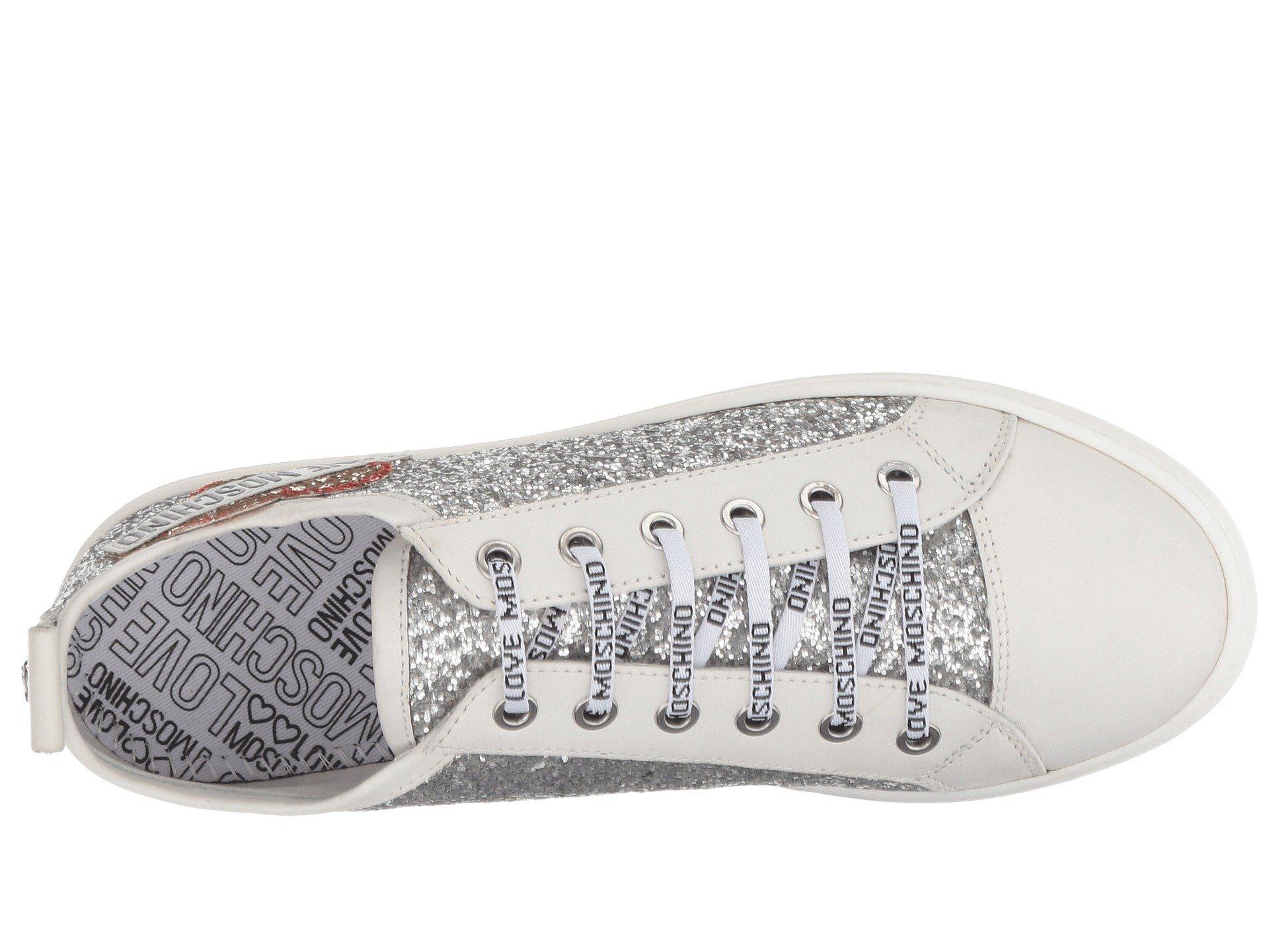 9bb9b451f8b Lyst - Love Moschino Glitter Platform Sneaker (silver) Women s Lace ...