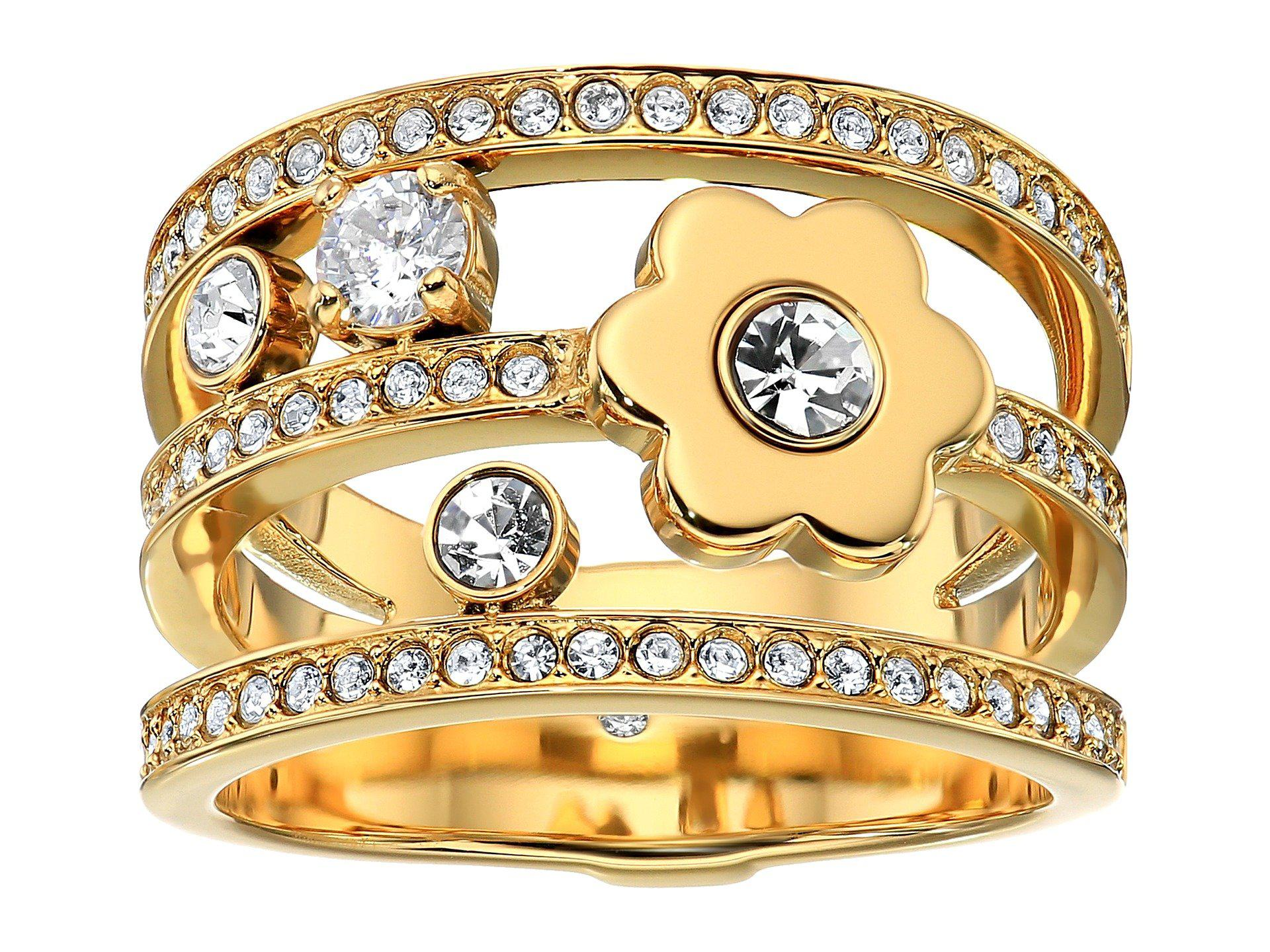 Michael Kors In Full Bloom Floral and Crystal Accent Stacked Ring (Rose Gold) Ring WRiAq9VlYw