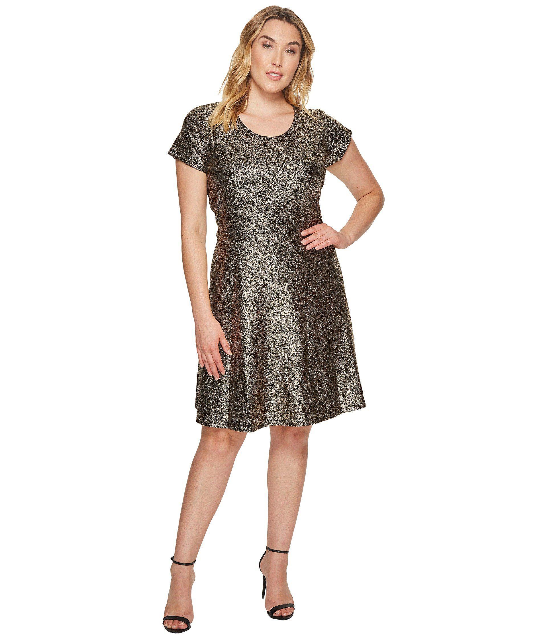 Plus Size Foil Cap Sleeve Dress
