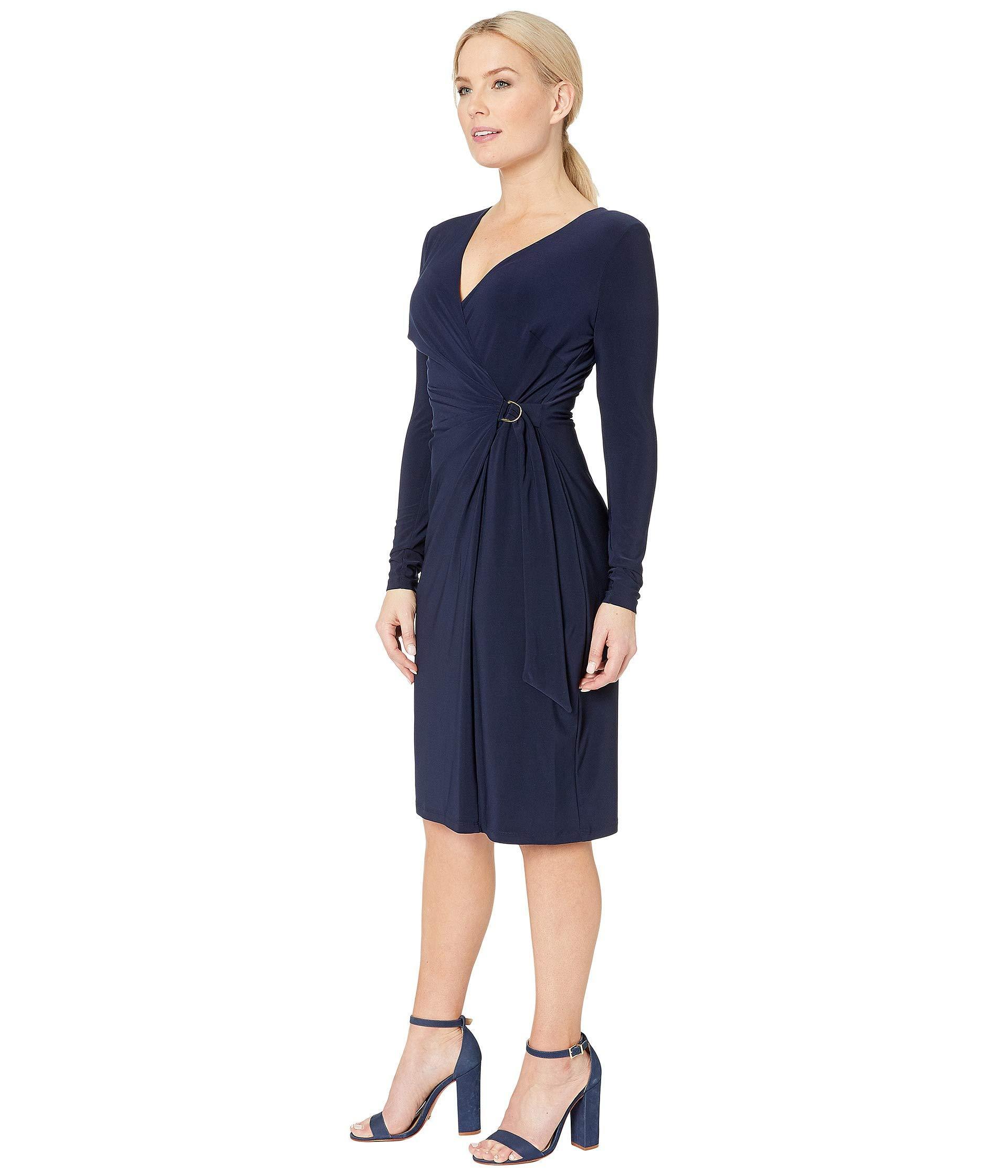 75ea9dd85f1 Lyst - Lauren by Ralph Lauren 1t Matte Jersey Casondra Long Sleeve Day Dress  (navy) Women s Dress in Blue