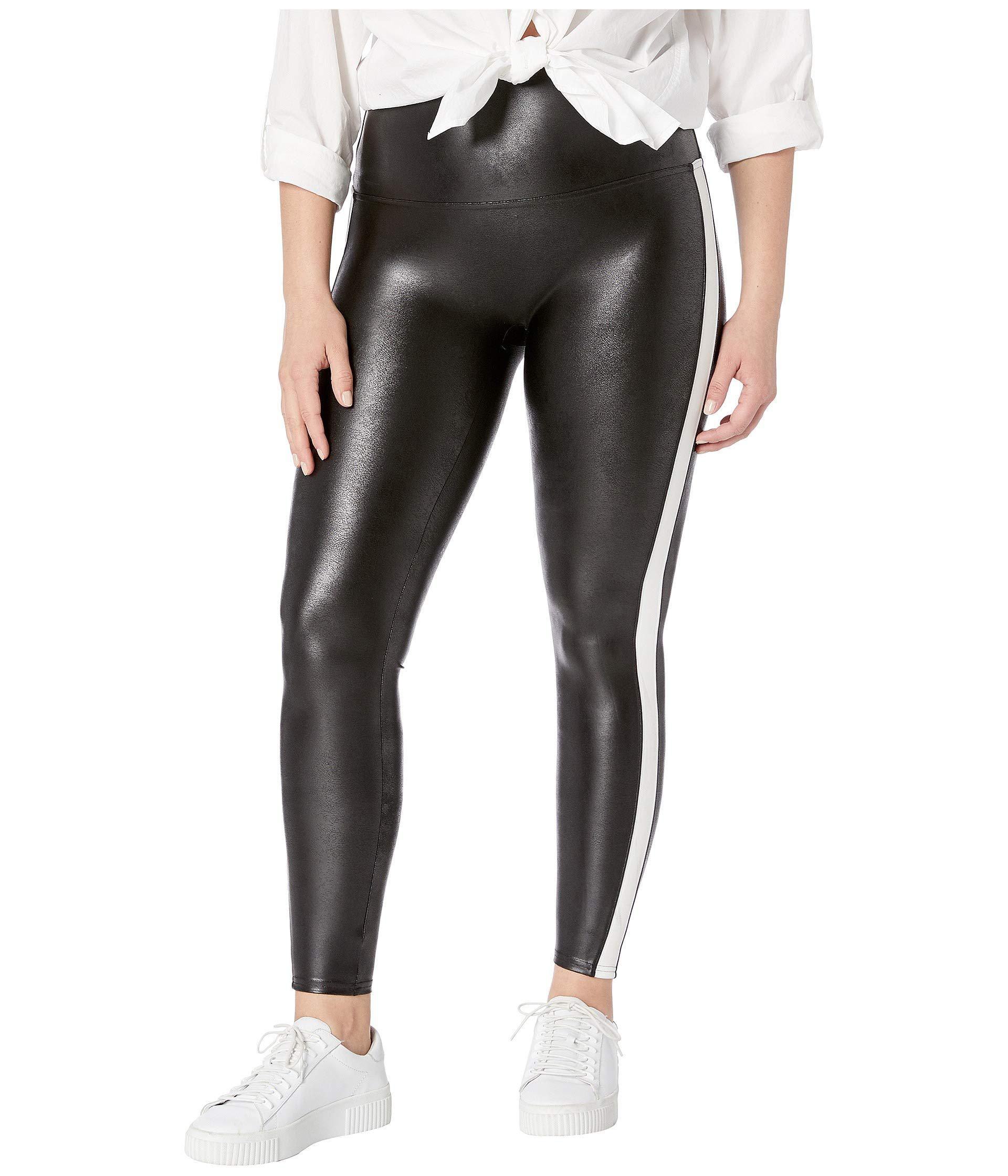 1e5f1bca537 Spanx Plus Size Faux Leather Side Stripe Leggings (very Black white ...