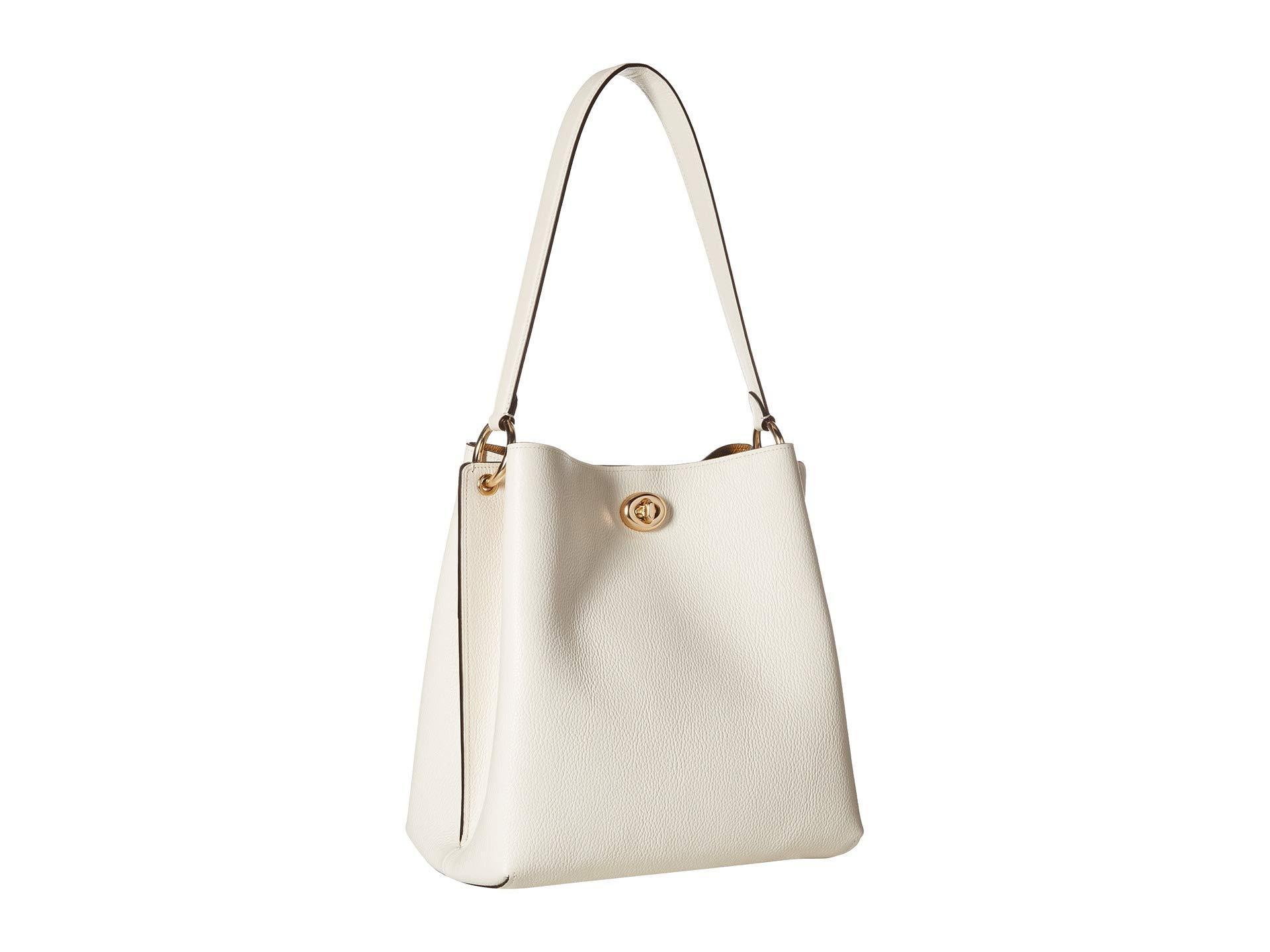 e7c4e789a Lyst - COACH Polished Pebble Leather Charlie Bucket (blossom/silver ...