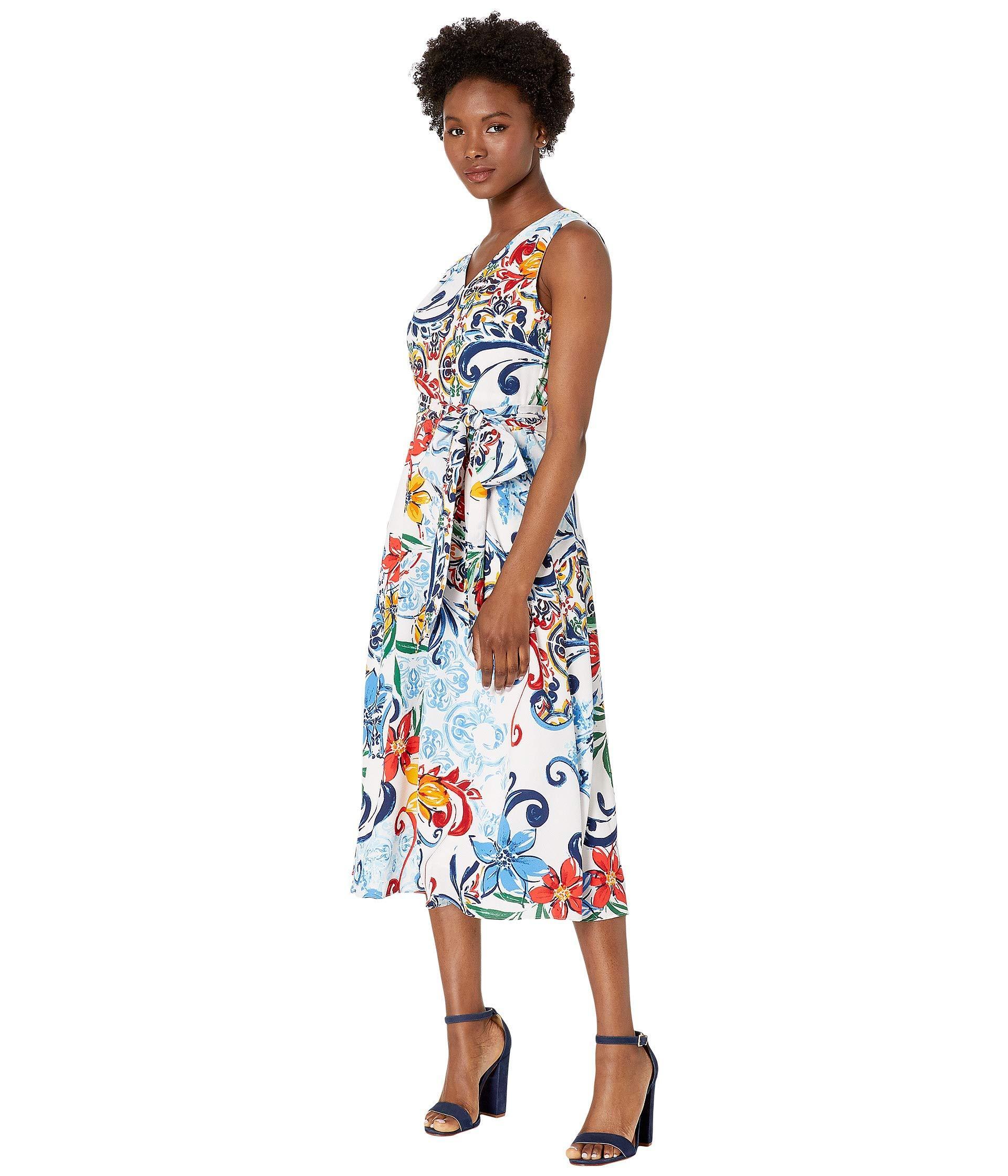 839c1ba294dba Tahari Petite Multicolor Pebble Crepe Side Tie Dress (amalfi Tile Print)  Women's Dress