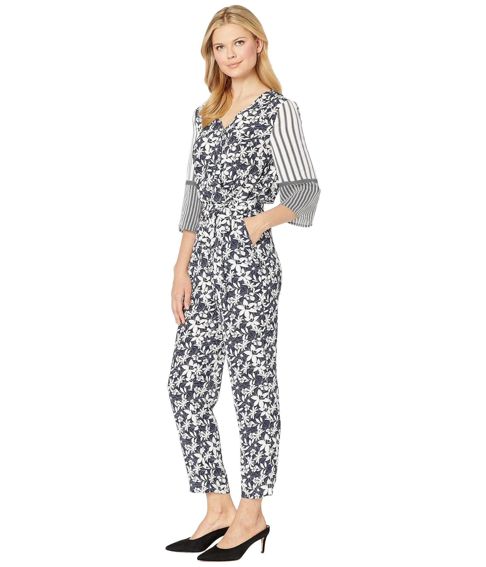 3095511f2a2 Lyst - Vince Camuto 3 4 Sleeve Floral Lace Mix Print Jumpsuit (classic  Navy) Women s Jumpsuit   Rompers One Piece in Blue