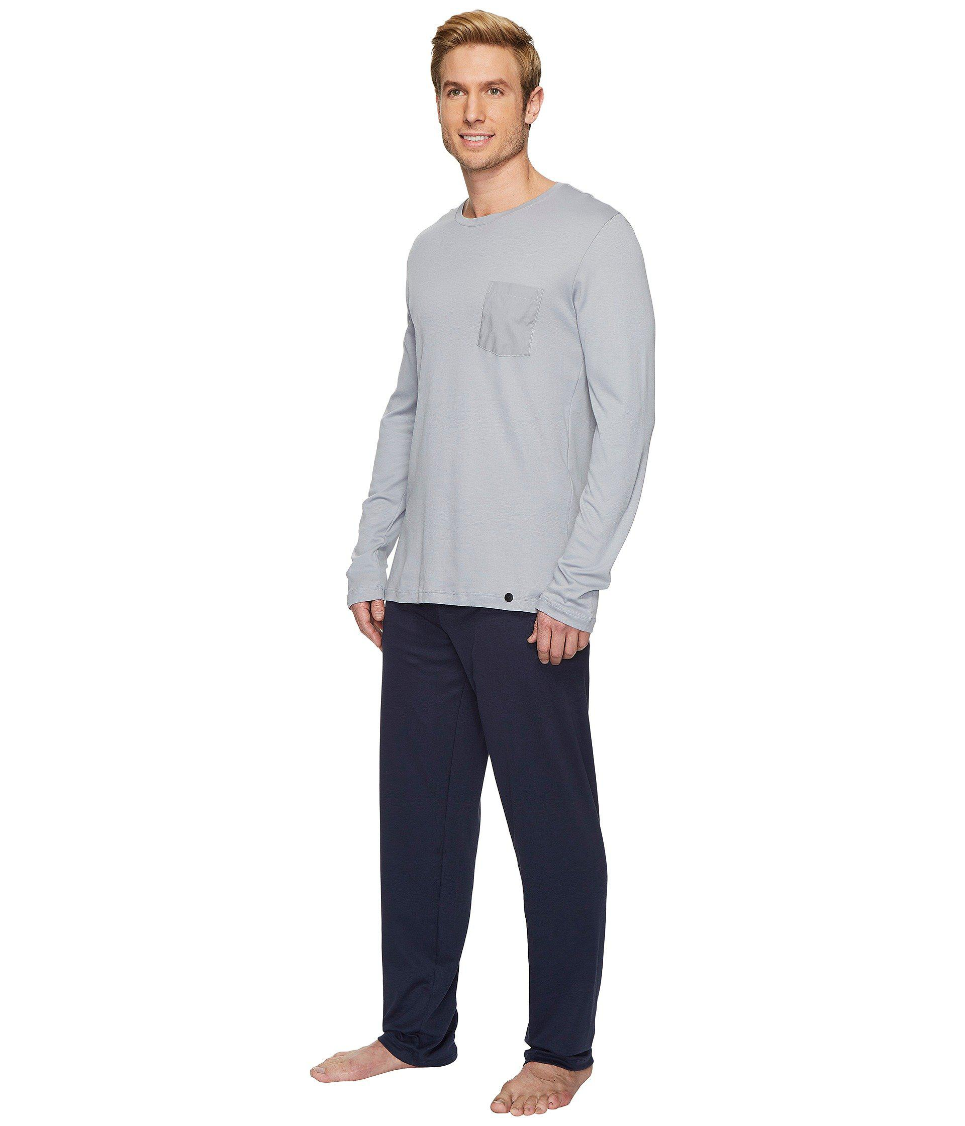 61dc48cbd5 Lyst - Hanro Night And Day Long Sleeve Pajama Set (mineral) Men s Pajama  Sets in Blue for Men