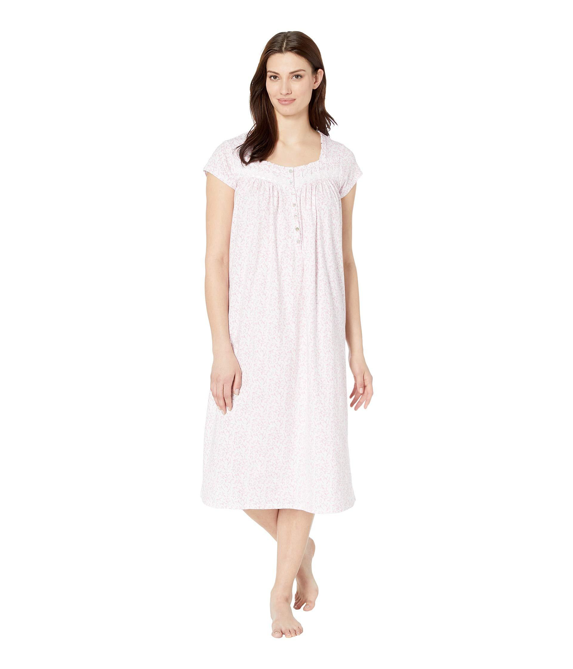 54d6cc5cae Eileen West. Cotton Jersey Ballet Nightgown (white Rose Leaf Print) Women s  Pajama