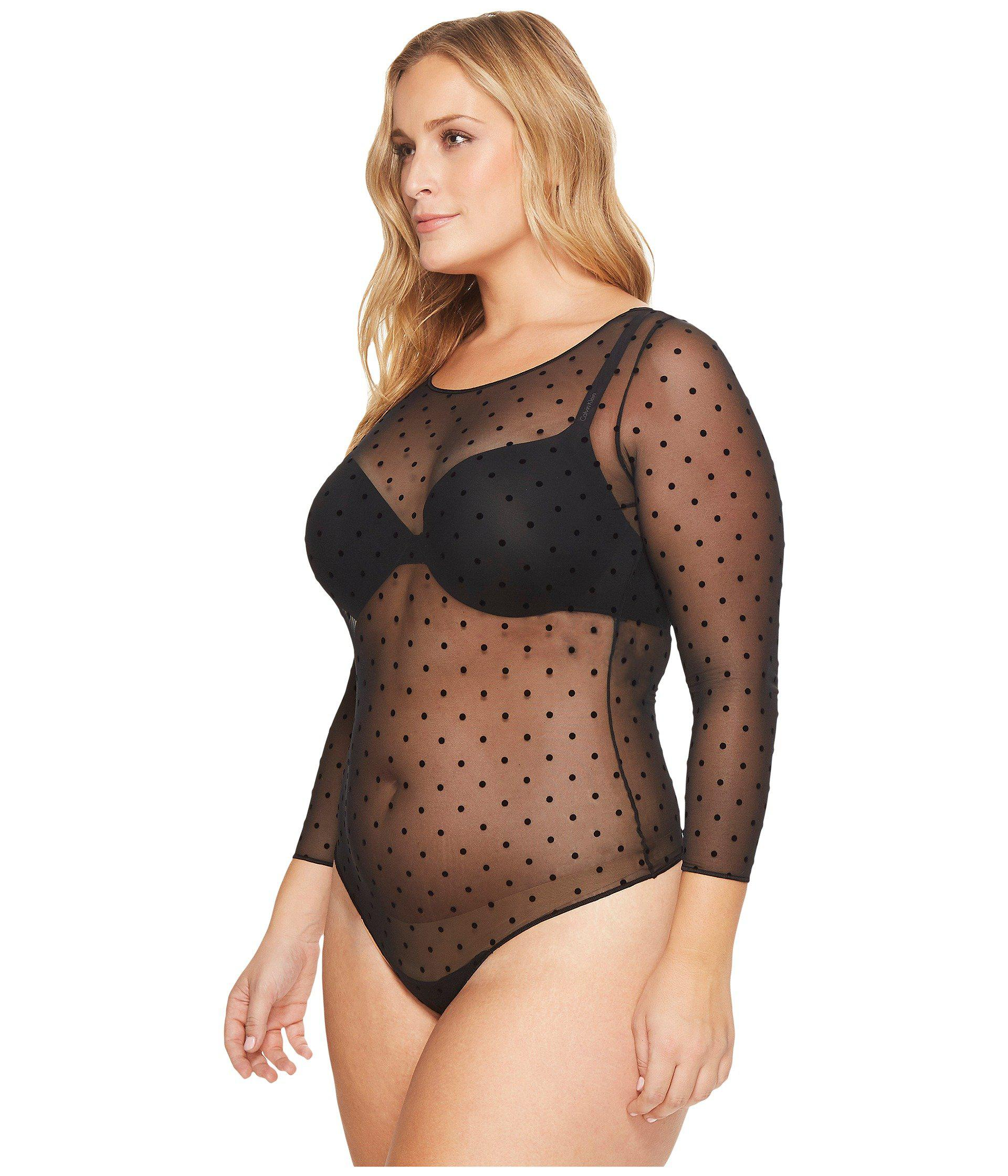 b661a015917af Lyst - Spanx Plus Size Sheer Fashion Mesh Thong Bodysuit (very Black)  Women s Jumpsuit   Rompers One Piece
