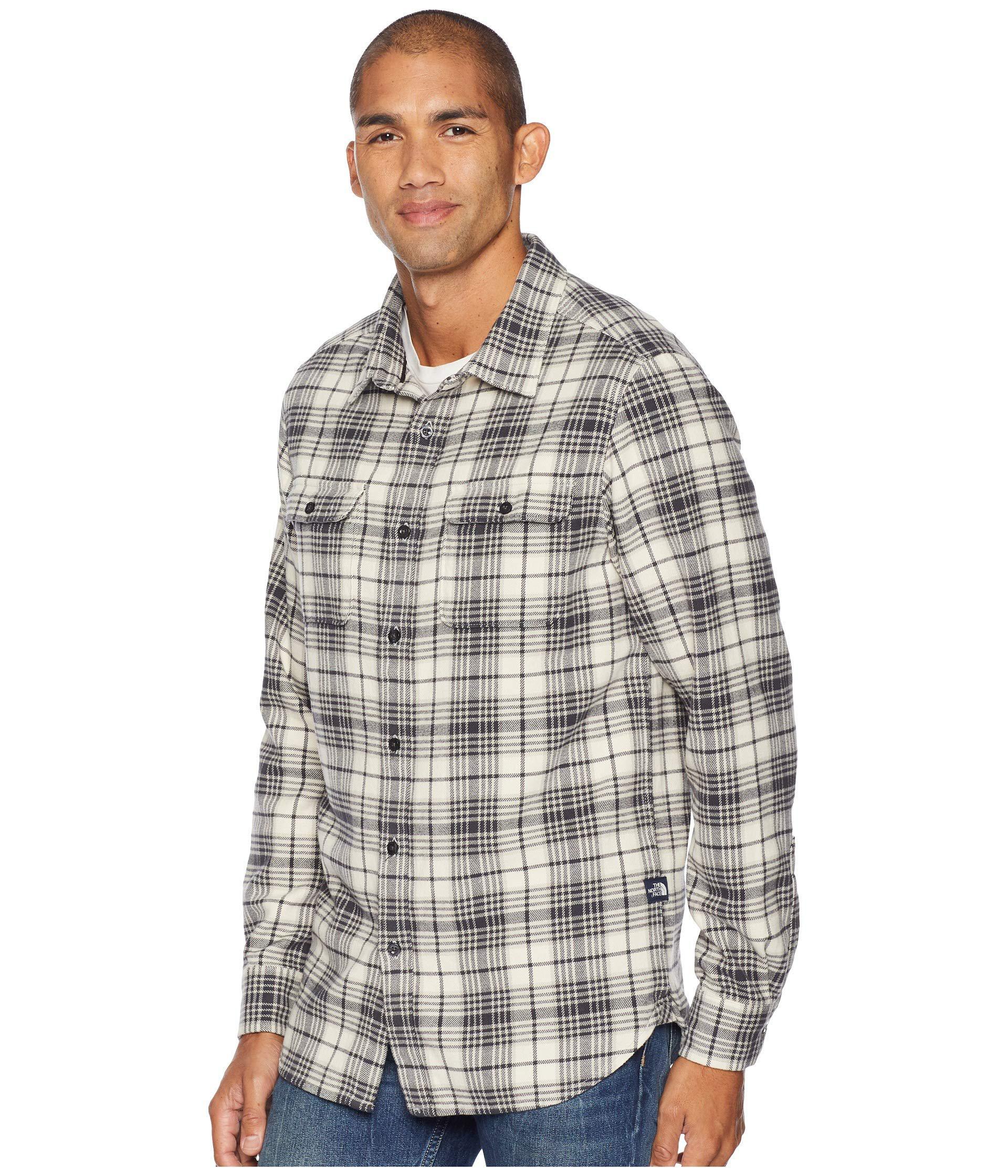 93f90d220 Long Sleeve Arroyo Flannel (vintage White Larkspur Plaid) Men's Long Sleeve  Button Up