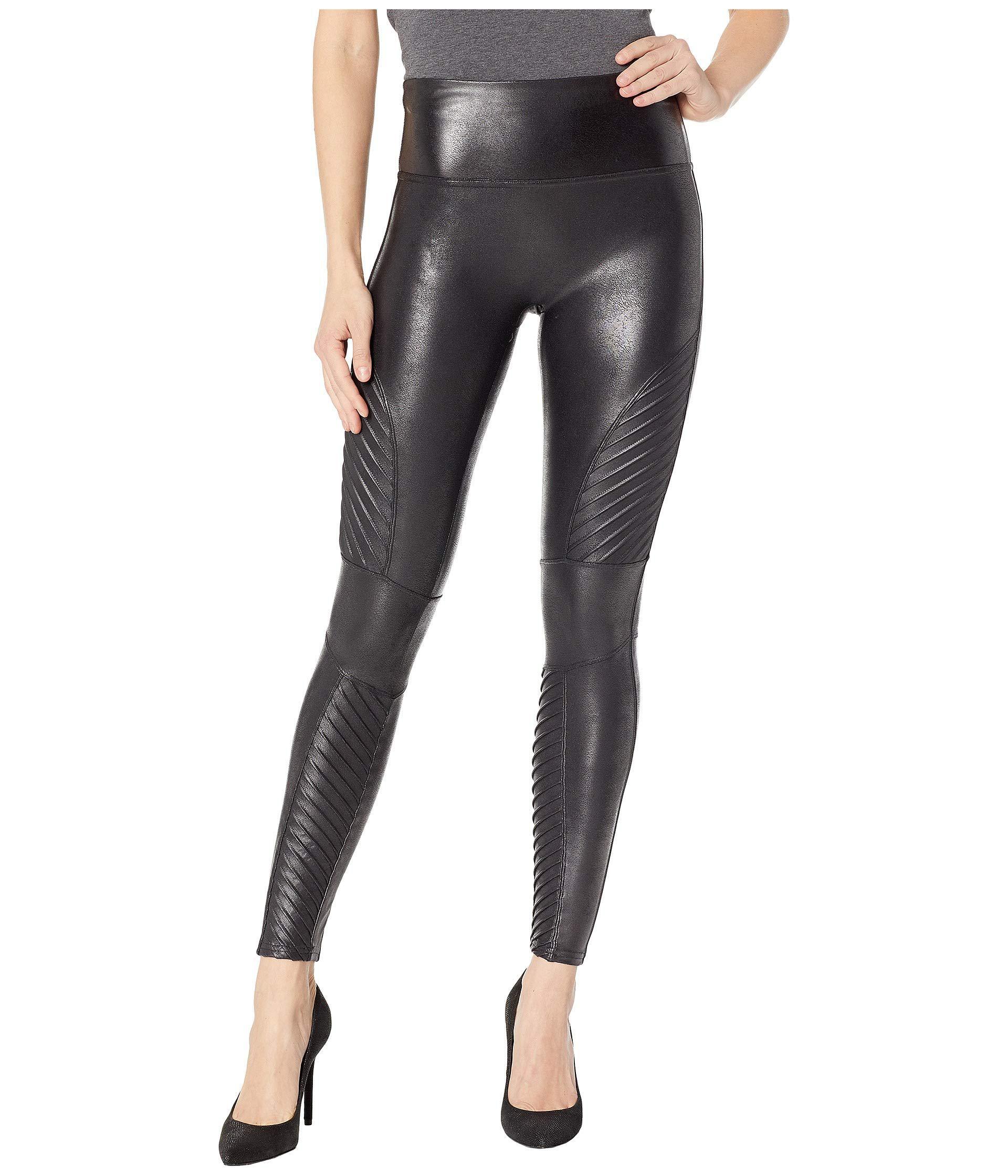 829cbf2416f Lyst - Spanx Faux Leather Leggings Moto Petite (black) Women s ...