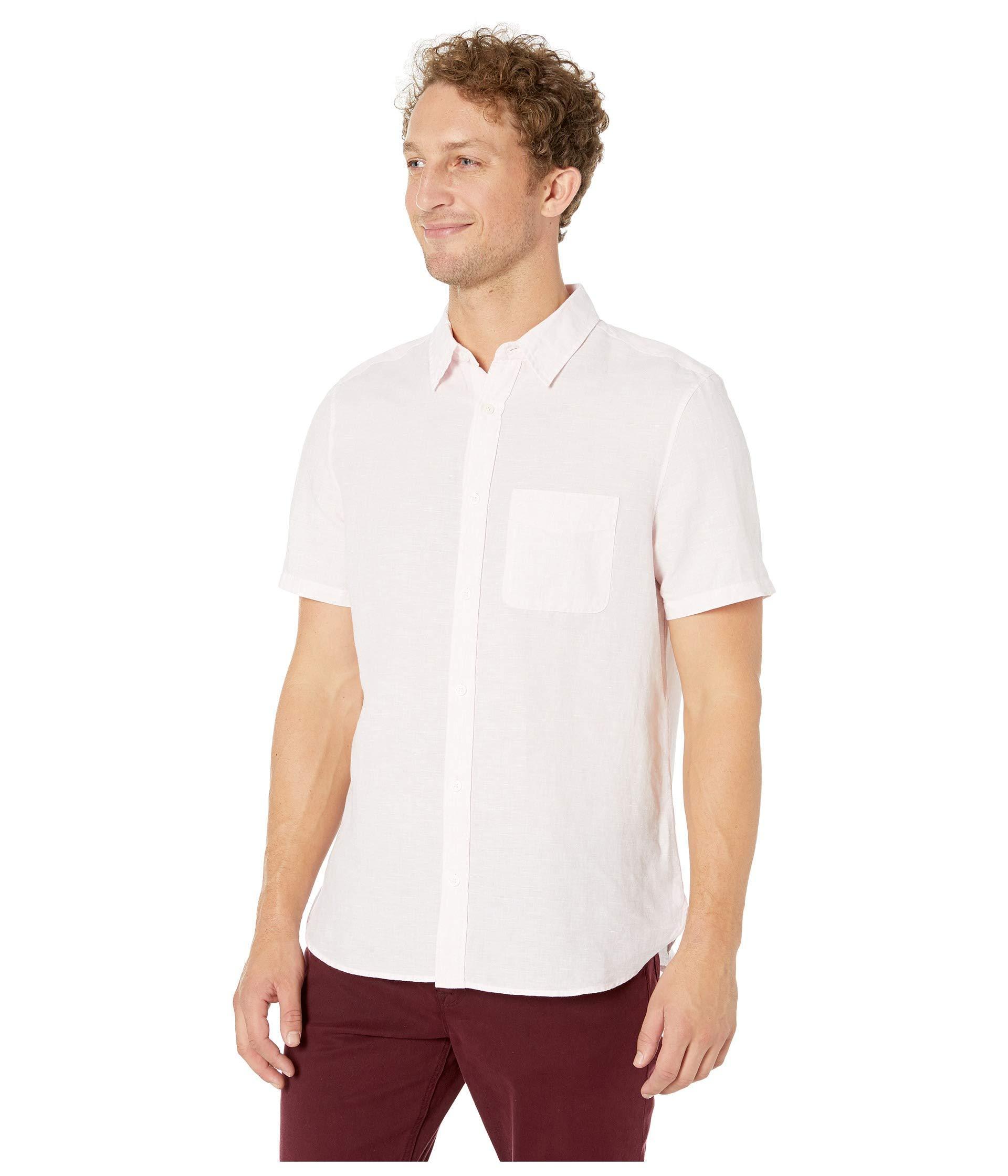 1db4bfc957b Lyst - Calvin Klein Short Sleeve Linen Blend Shirt (black) Men s Clothing  in White for Men