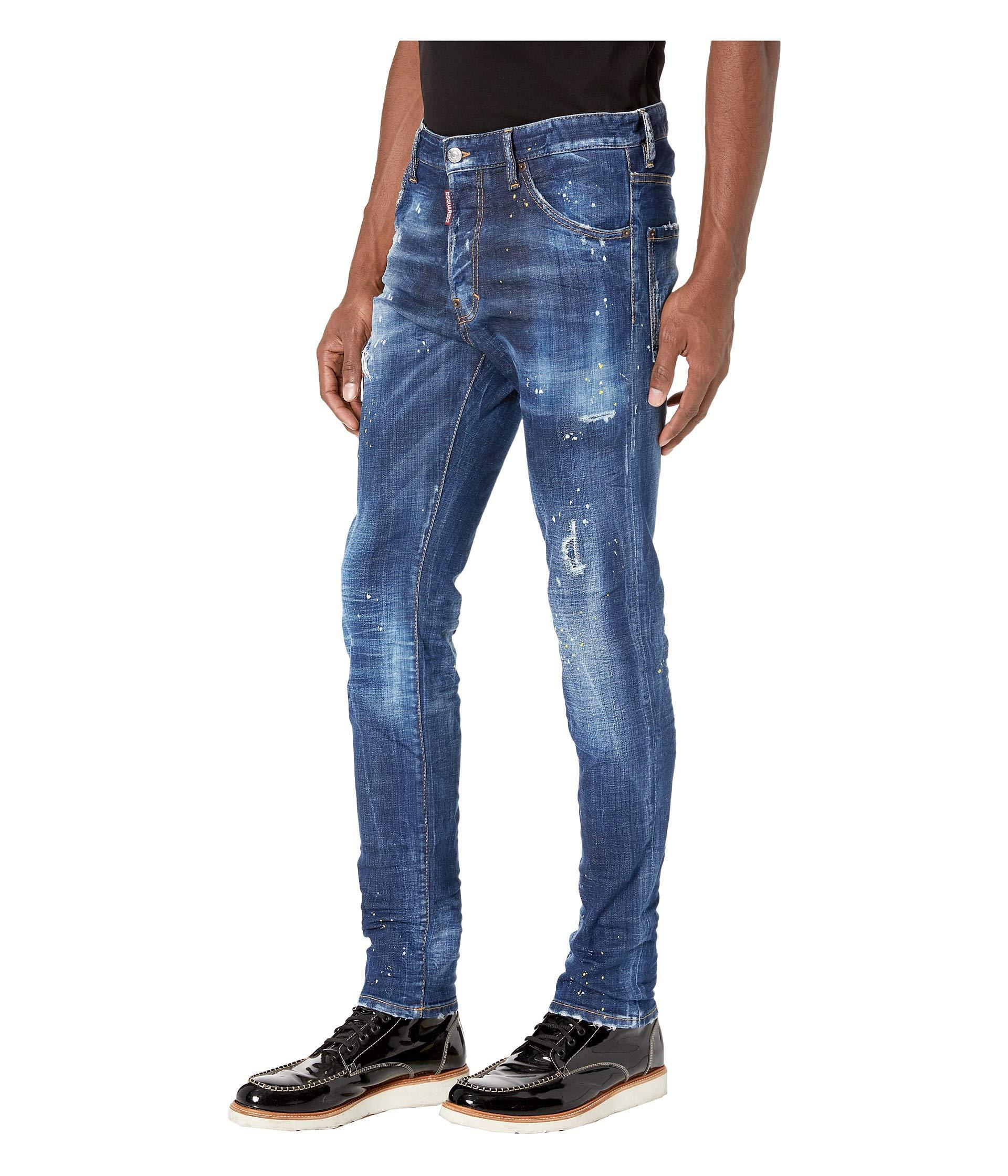 DSQUARED2 Mens Cool Guy Jeans in Yellow Ripped Spots Wash