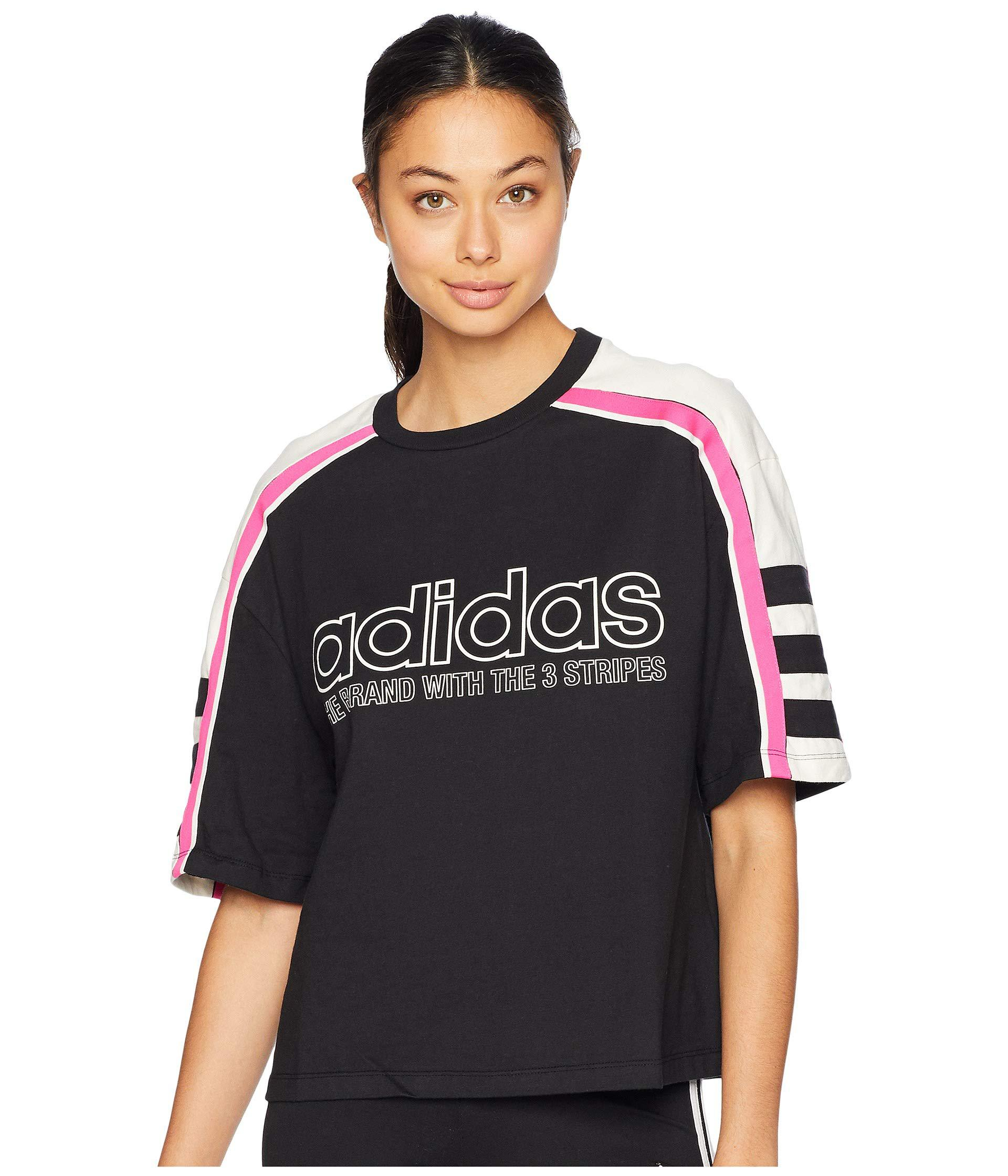 f33483bec6552a Lyst - adidas Originals Racing Aa-43 Cropped Tee (black) Women s T ...