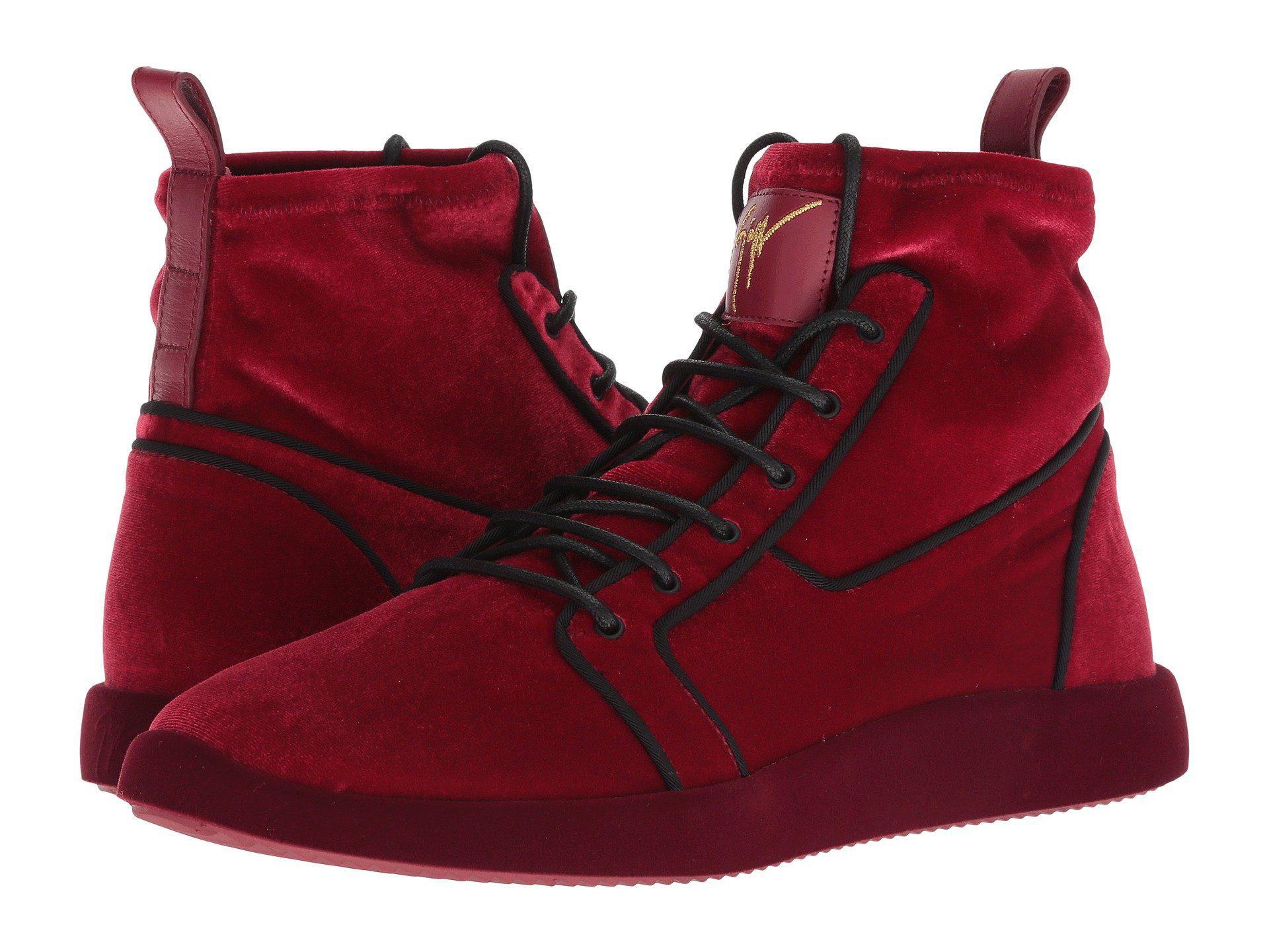 b5f552f1dcb Lyst - Giuseppe Zanotti Singles Velvet High Top Sneaker in Red for Men