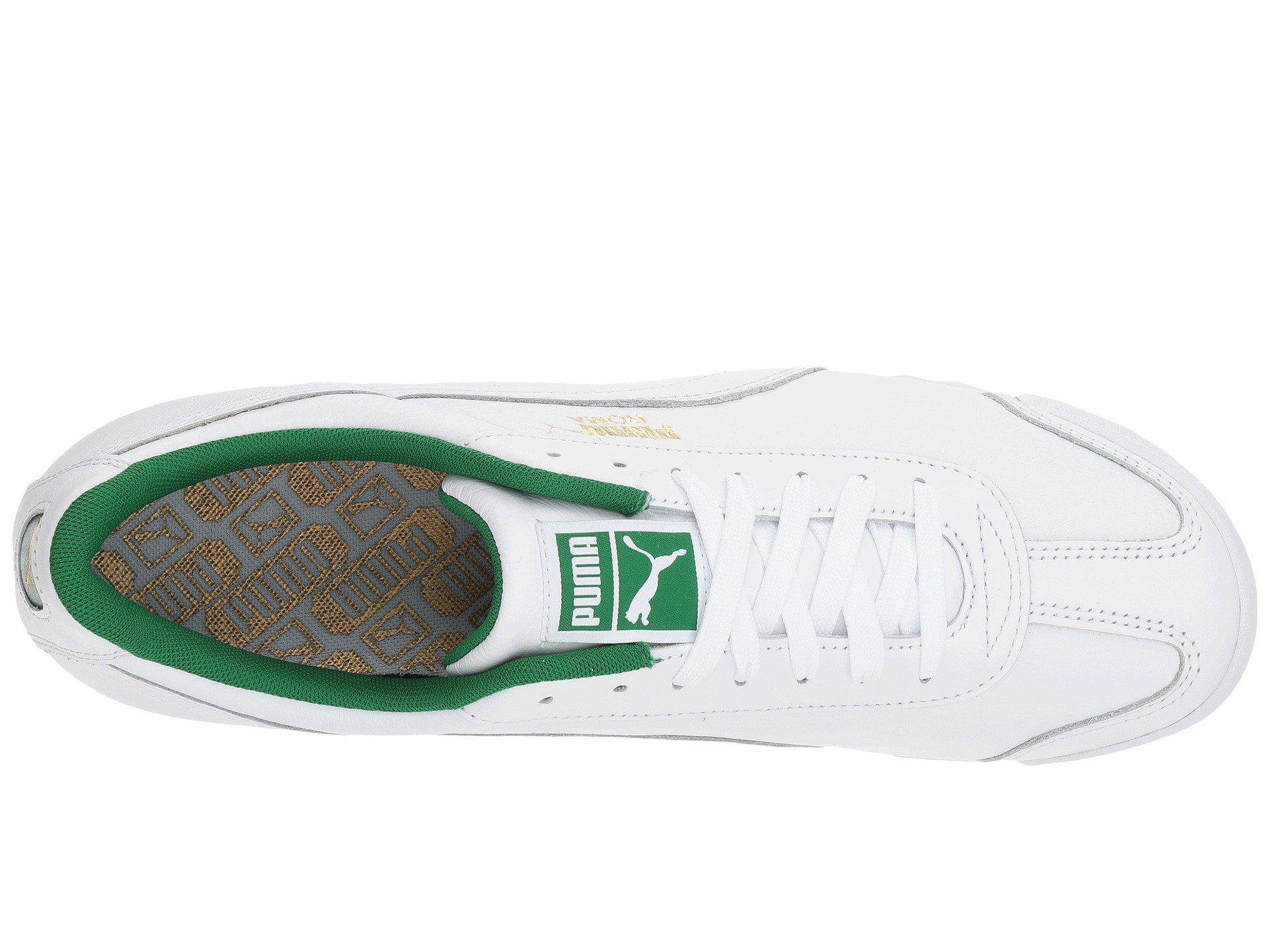 96989834f6a7e PUMA Roma Classic ( White/amazon Green) Lace Up Casual Shoes for men