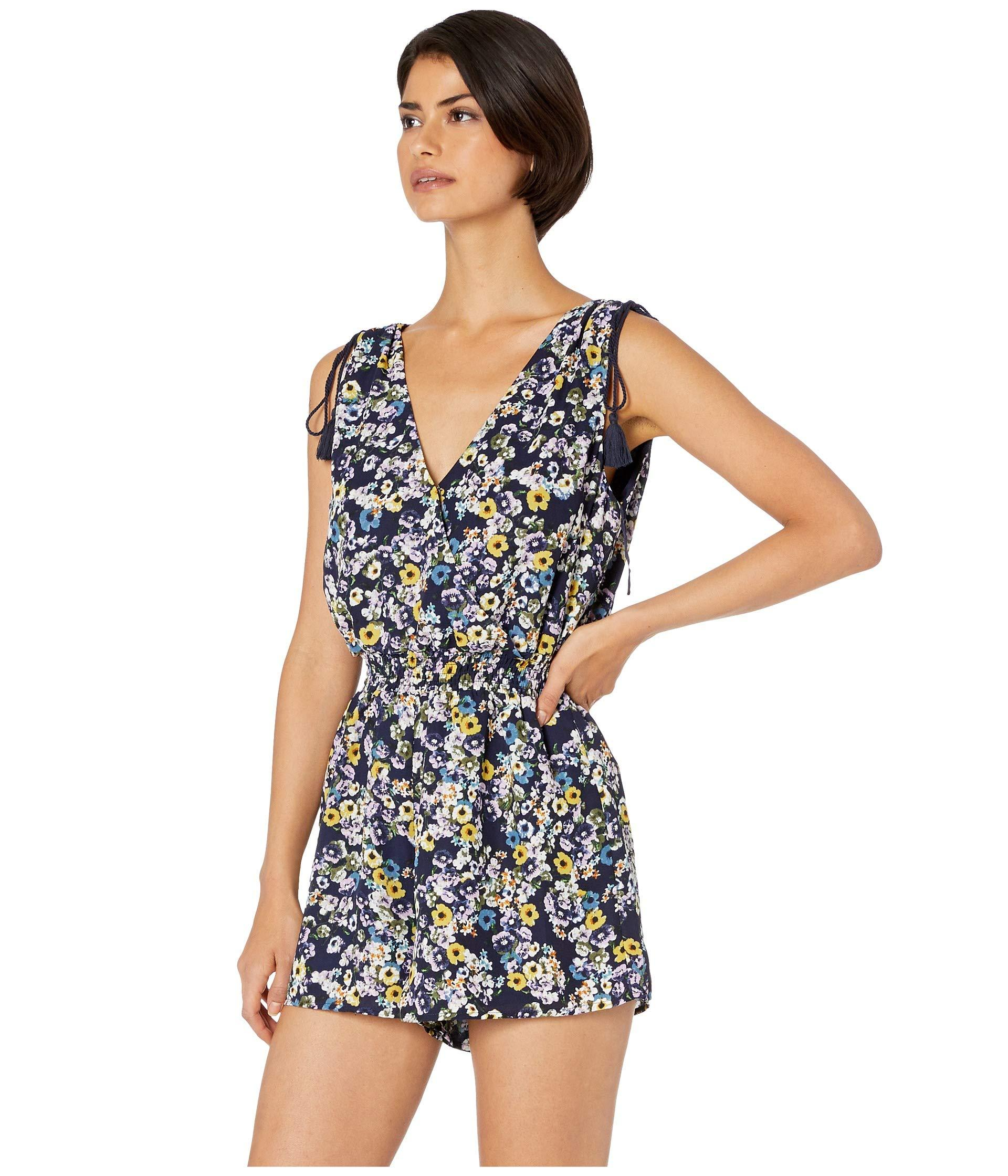 966d5ebaa747 Lyst - Cupcakes And Cashmere Meadow Floral Printed Romper (lapis ...