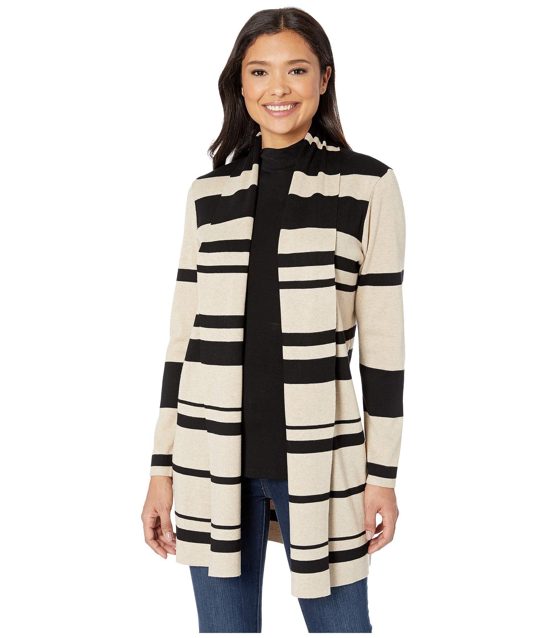 ada699a9e41 Lyst - Calvin Klein Multi Stripe Cardigan (black/heather Latte ...