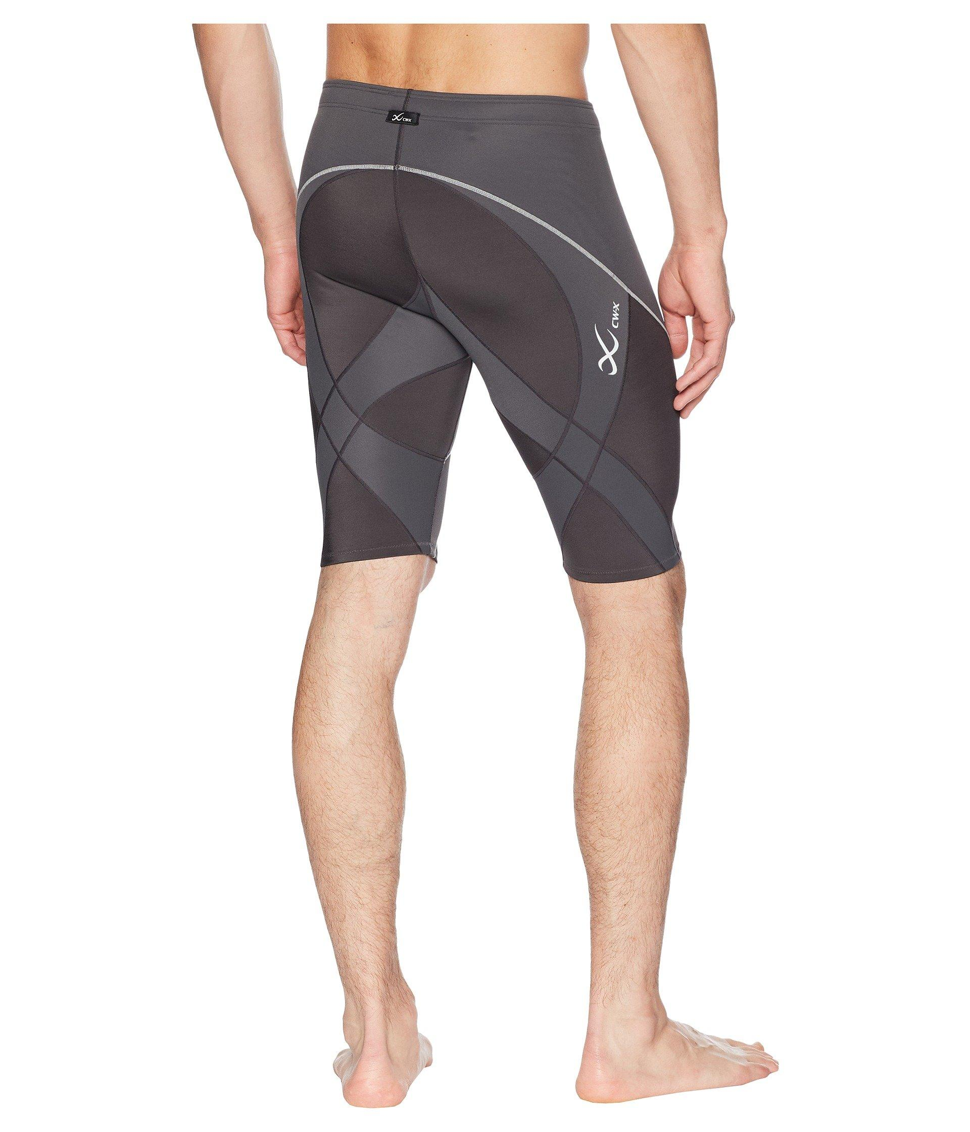 CW-X Men/'s   Mid Rise Endurance Pro Compression Shorts Charcoal//Charcoal//Silver