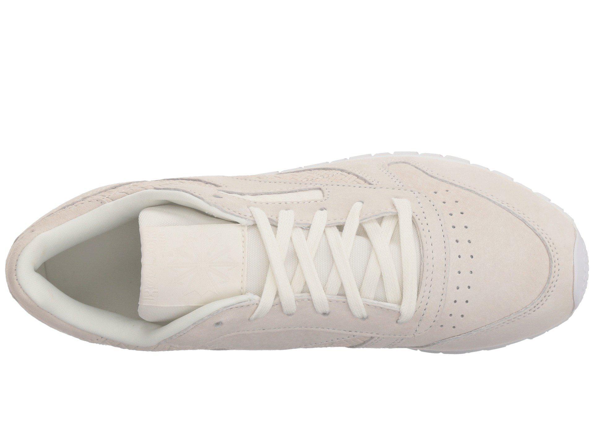 8b6b66a6c3c Reebok - Classic Leather Woven Embossed (chalk white) Women s Classic Shoes  - Lyst. View fullscreen