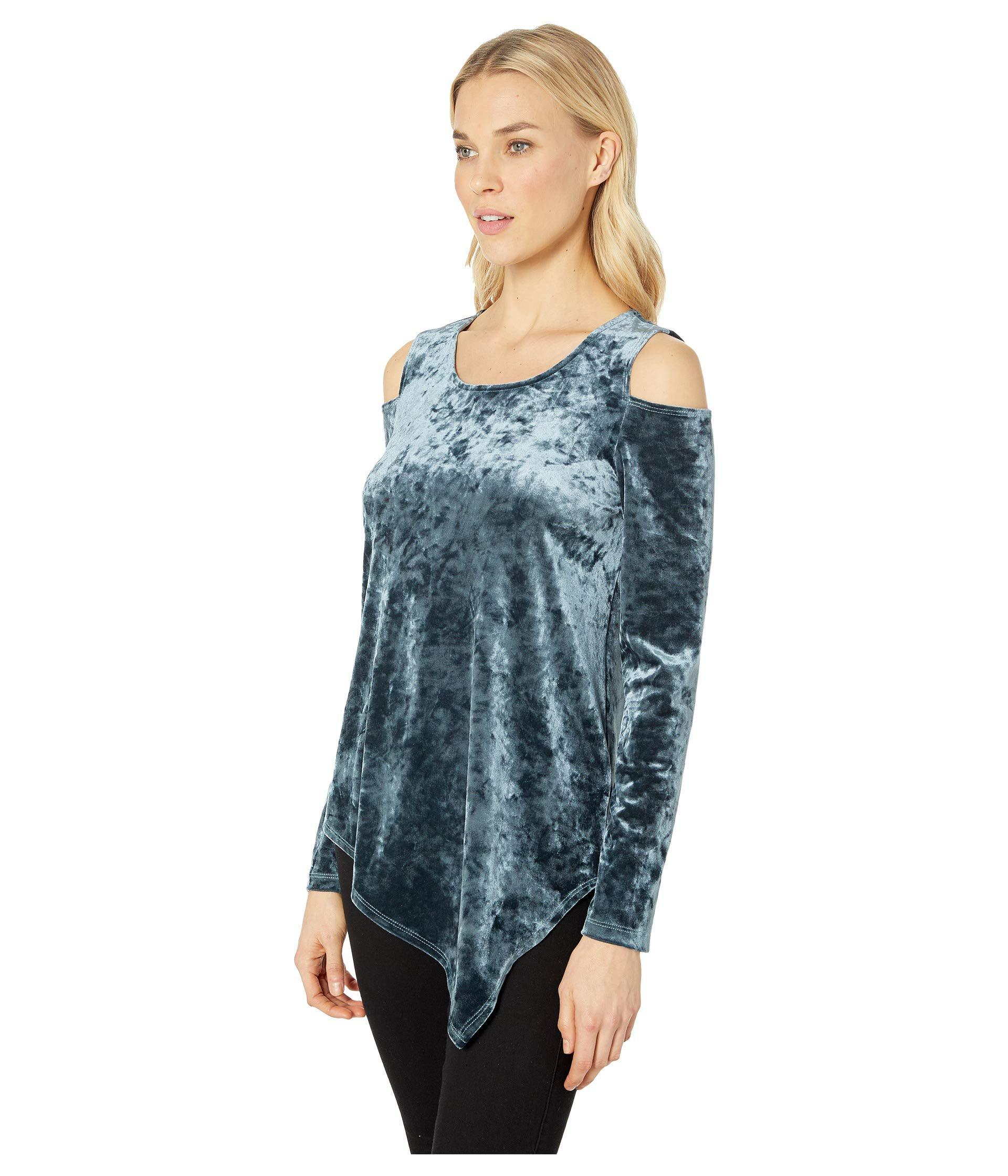 34c82c66e46 Lyst - Karen Kane Crush Velvet Cold Shoulder Top (jade) Women s Clothing in  Blue