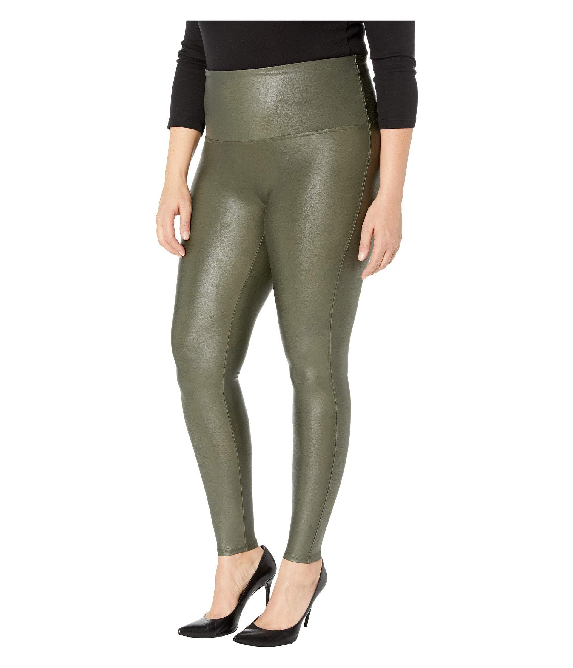 8858293008c Spanx Plus Size Faux Leather Leggings (gunmetal) Women s Clothing in Green  - Lyst