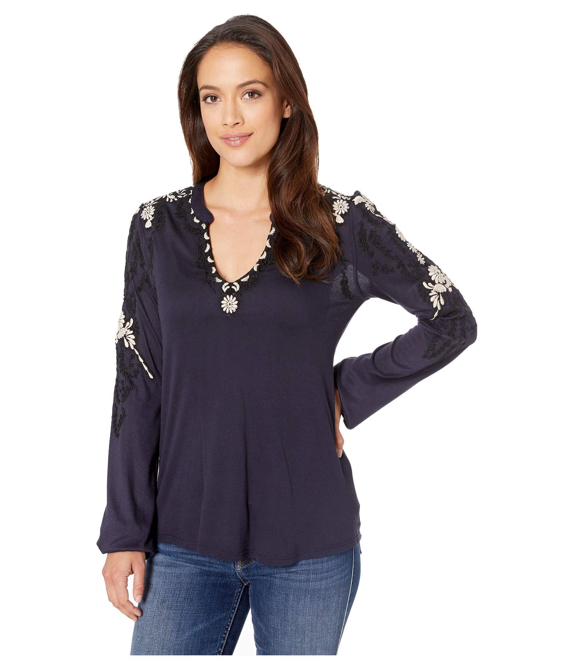 02d76d6850495 Lyst - Lucky Brand Embroidered Sleeve Top (cabernet) Women s ...