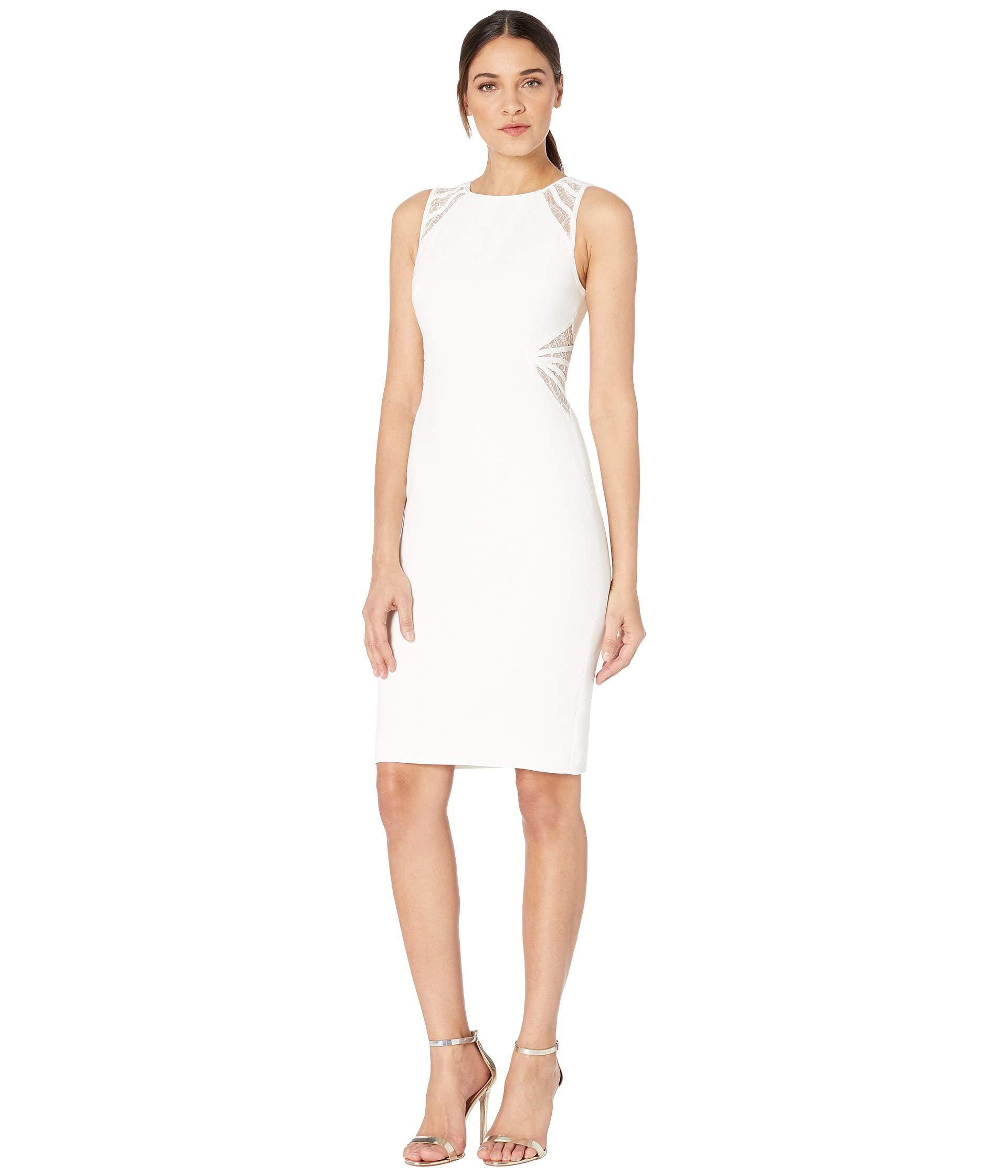 8193639026 Lyst - Halston Sleeveless High Neck Dress With Lace Stripe Detail ...
